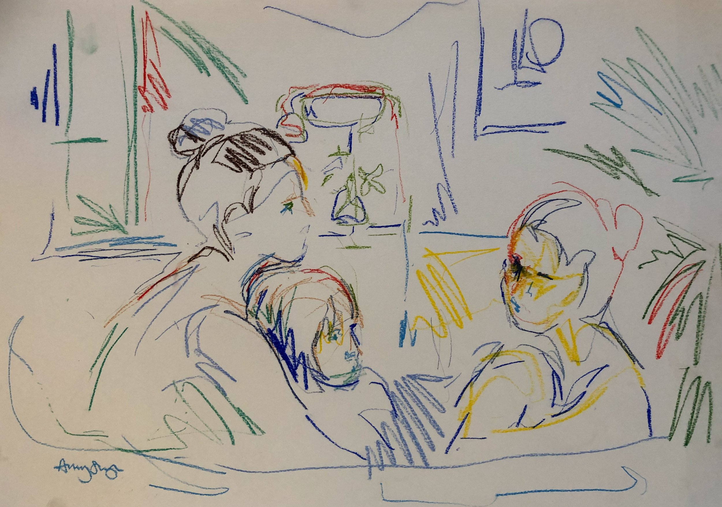 In the bath 6, pastel on paper, 54x67cm framed