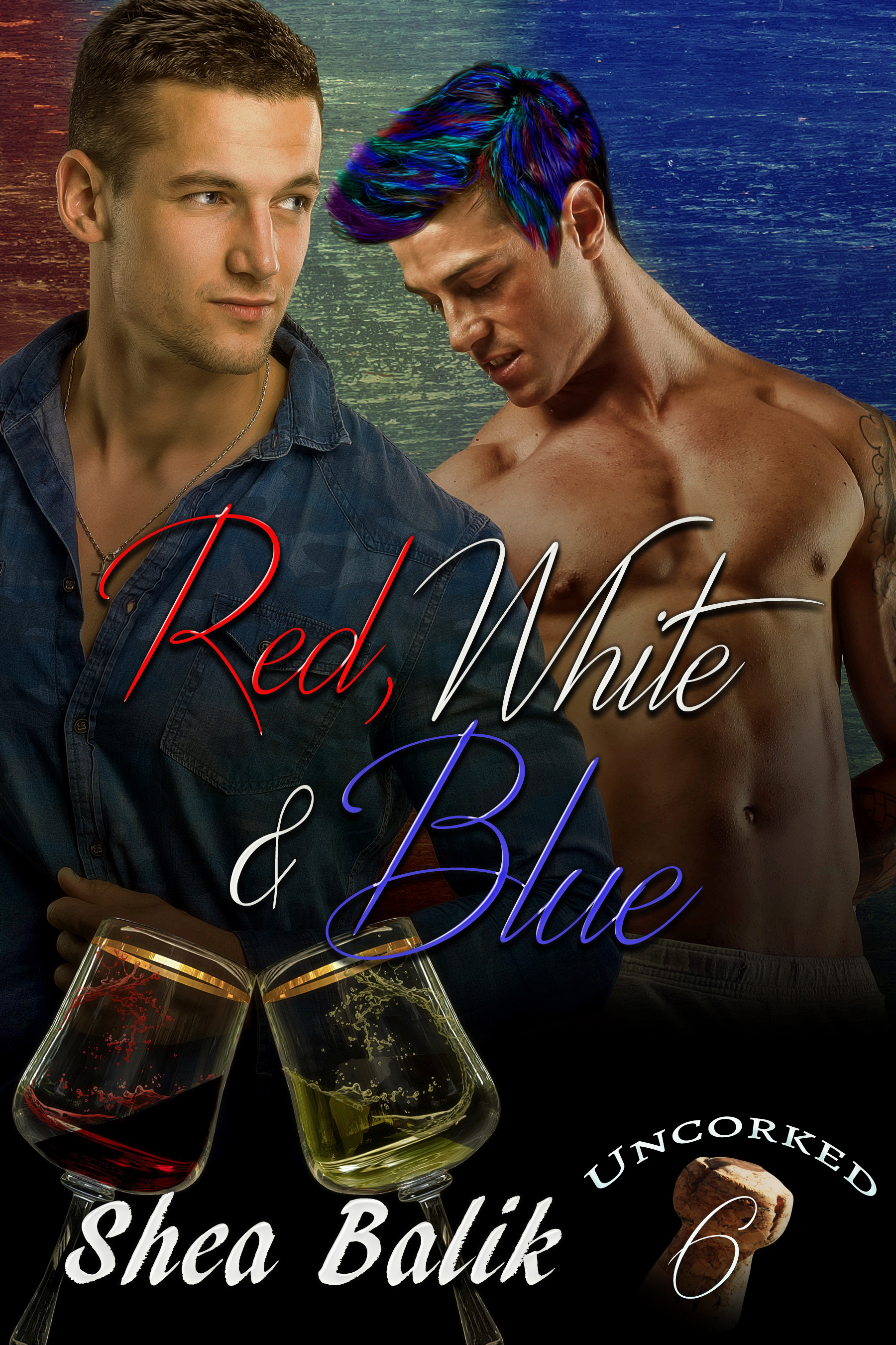 Red, White & Blue - Raise your wine glasses high to toast the men of Dahlonia while they discover the secret to happiness – LOVE.Blue Moon tried to live a fairly 'normal' life. To him that meant working, paying bills and keeping as far under the radar as possible. He'd had enough of being the center of attention to last a lifetime. Although, to be fair, it usually wasn't him that found a way to draw a crowd. That would be his mother, Apple Blossom. Blue was just the unfortunate person she used to gain the spotlight as often possible.Lowen Delany loved his new job at The Twisted Vine as a Wine Tasting Assistant. His bosses didn't even mind his multicolored hair and tattoos. It didn't hurt that he got to try the vineyard's new wines every year either. Best of all, he was able to meet new and interesting people every day, including a man who tried to hide behind a fake tree while wearing a colorful outfit that couldn't have been missed in the dark from a mile away. Although, Lowen was fairly sure, even dressed in black, he would have noticed Blue.But when Blue's mother decides to butt into their budding relationship, thankfully, they both find that family is more than just about genetics. It's about who is there for them when things get tough that matter most.Warning: Many tastings of both red and white wine were consumed during the writing of this book. This author is far from being an expert, but it isn't from lack of trying.                    PURCHASE LINKS