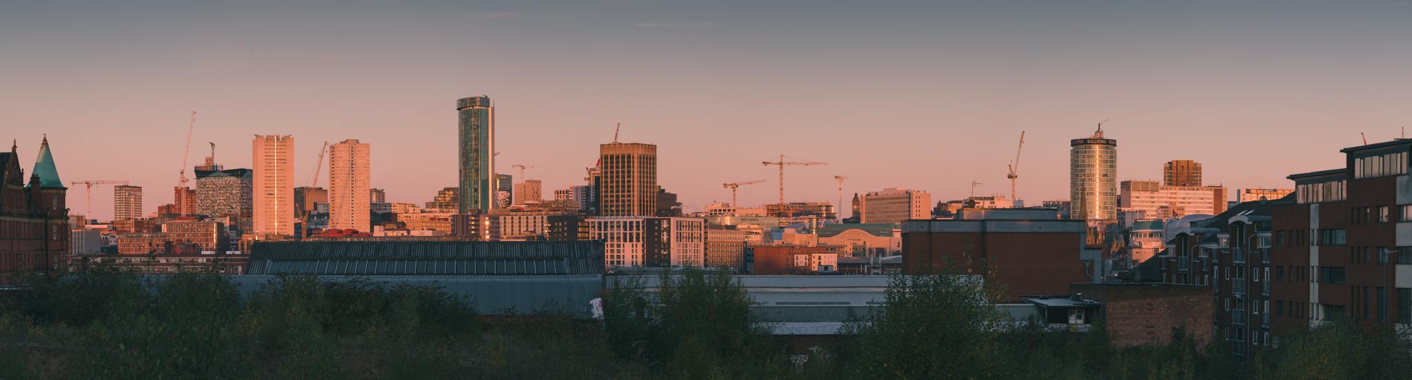 Birmingham's iconic skyline captured from Moseley Street