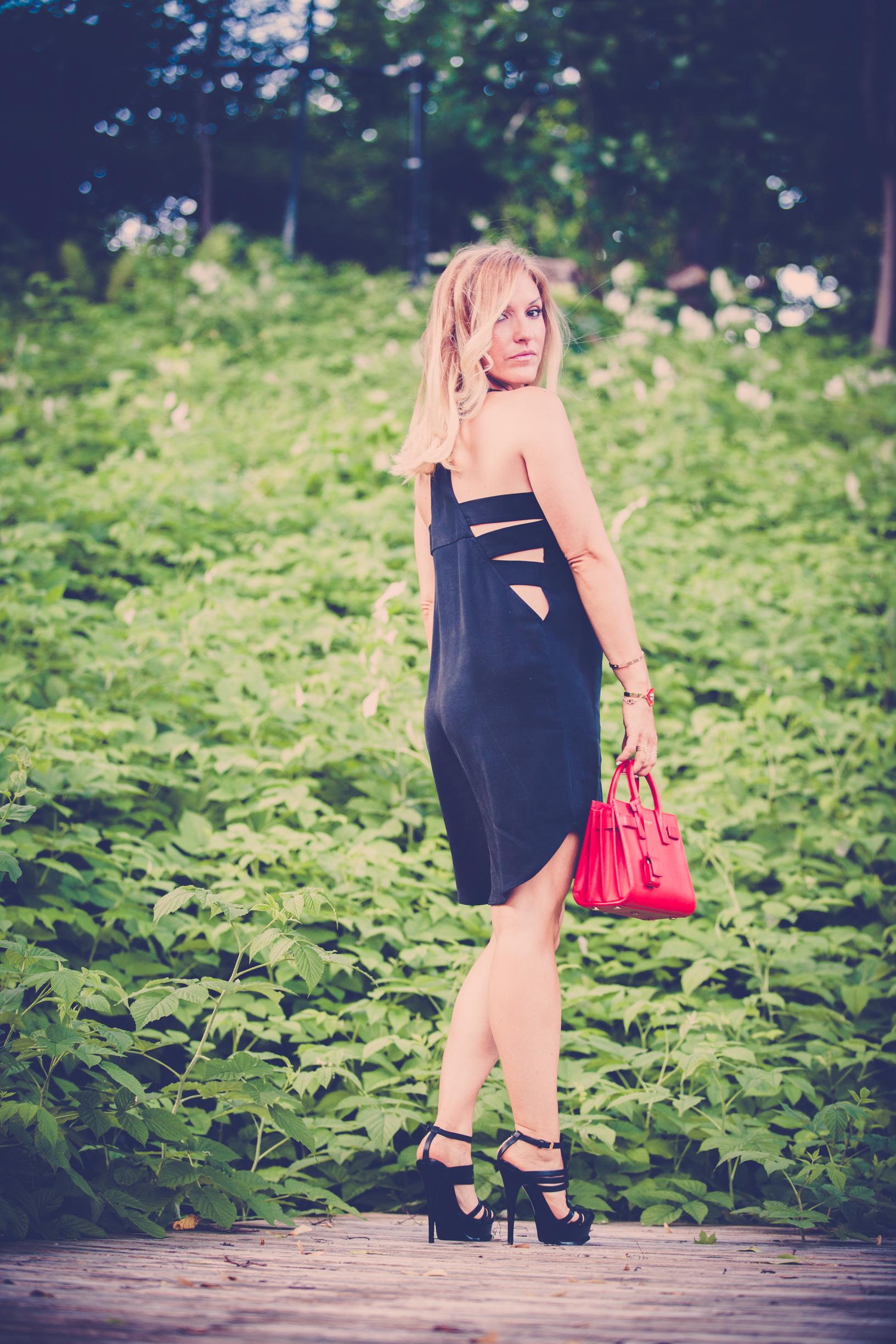 mademoiselle jules mlle cutouts cut out fashion black dress saint laurent shoes purse bag