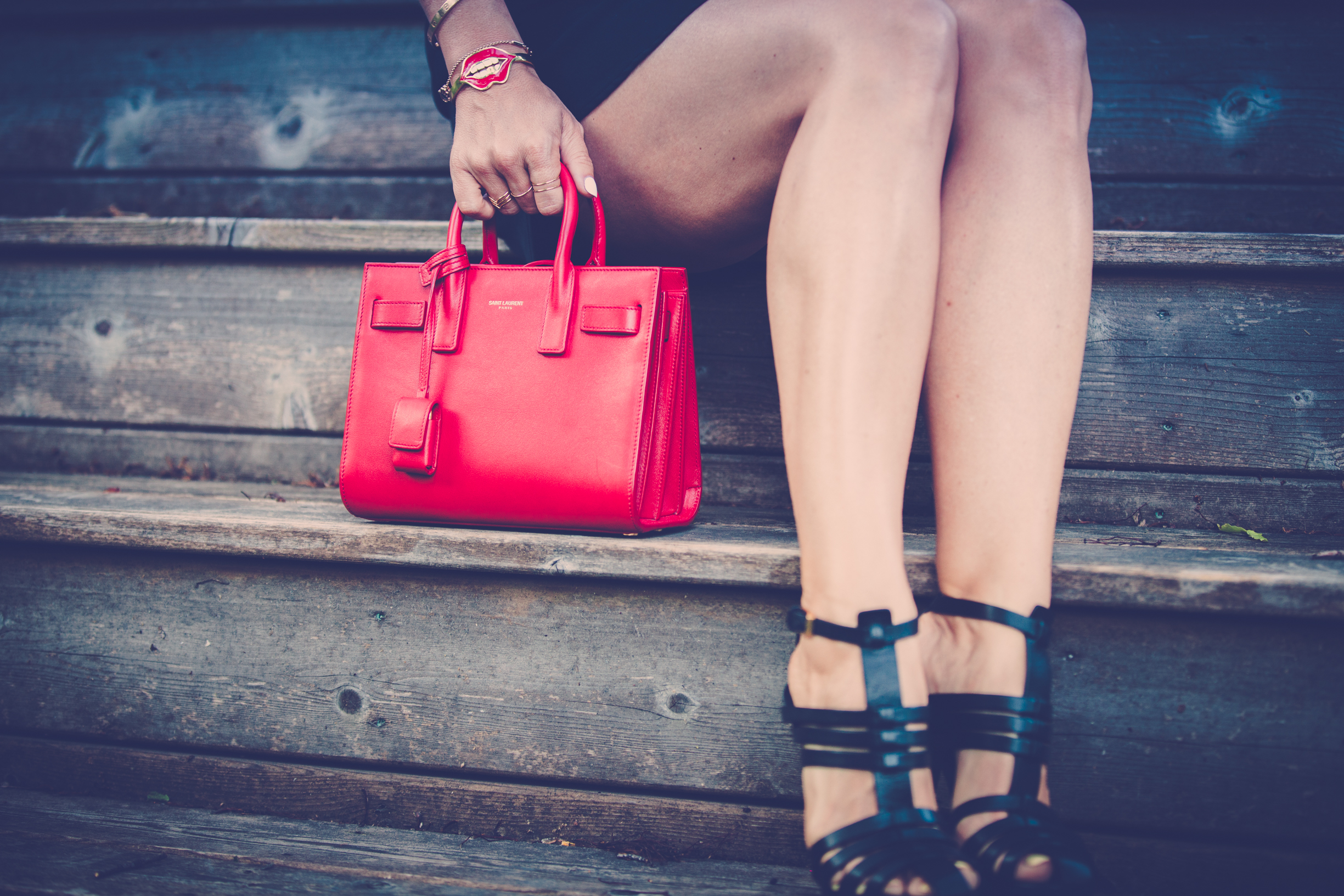 mademoiselle jules mlle saint laurent shoes bag red purse caia jewels new social class