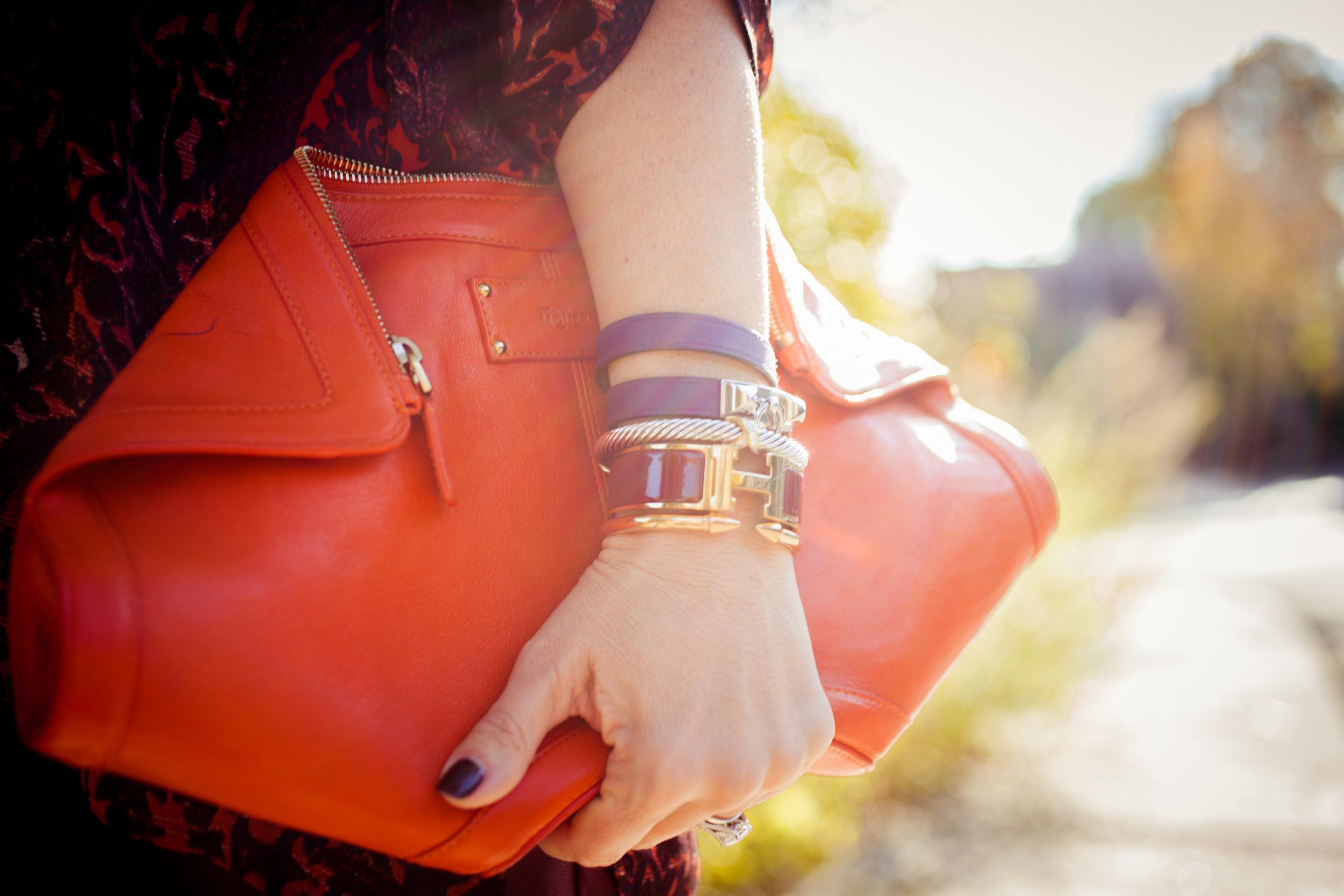 mademoiselle jules mlle alexander mc queen purse bag orange bordeaux hermes bracelet vita fede