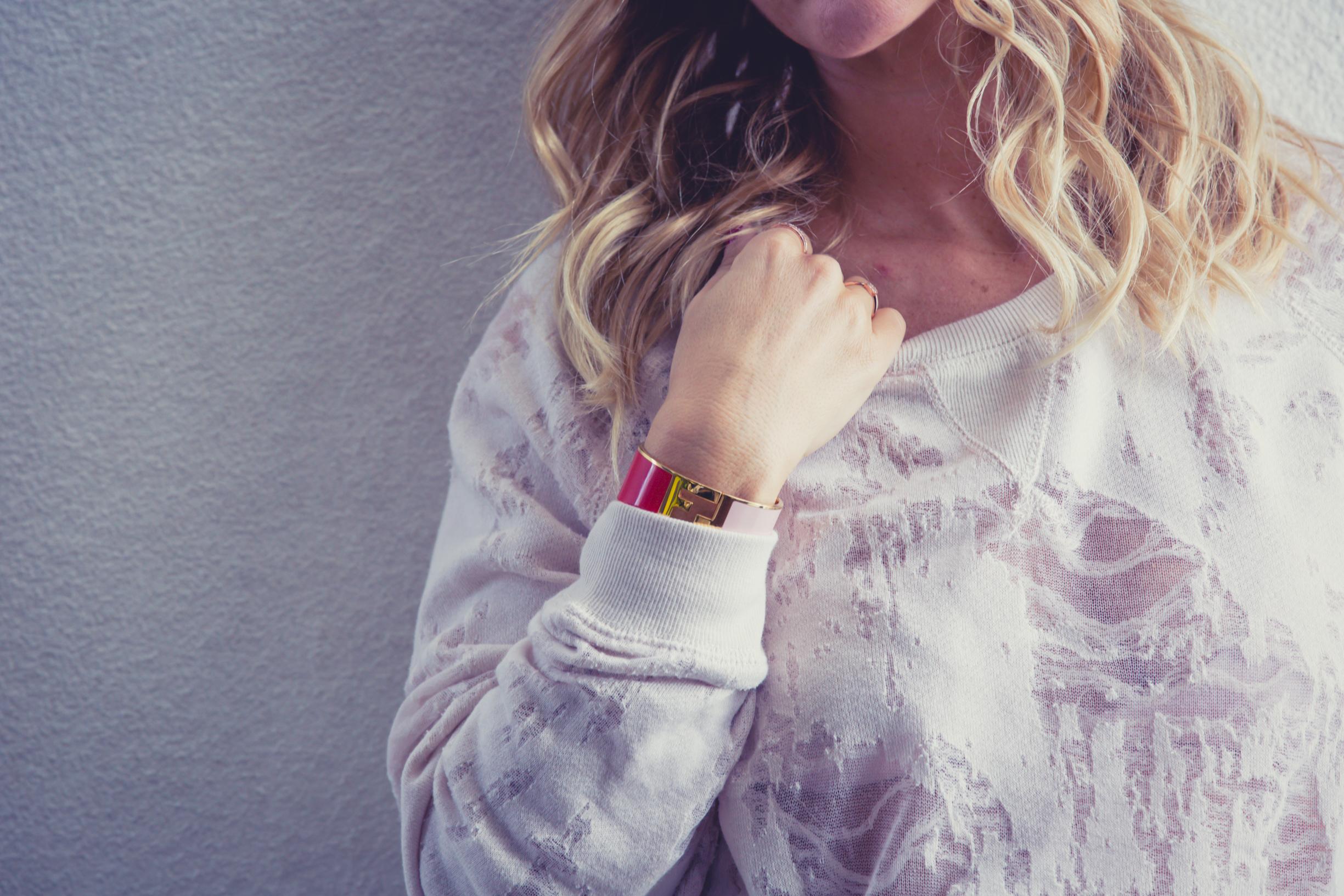 Sweater from  Iro Jeans ,Bracelet from  Fendi