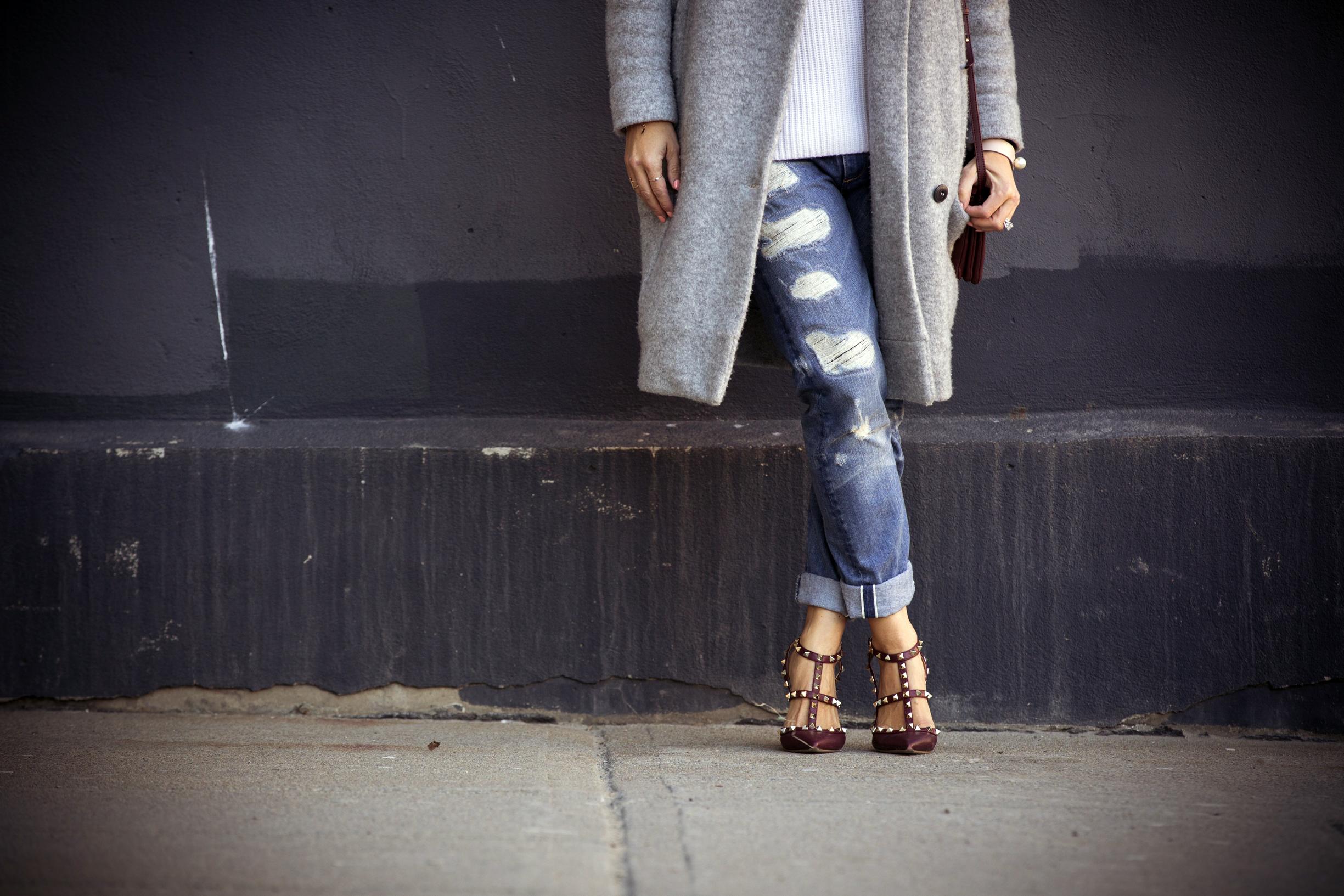 tortoise jeans tnt fashion rockstuds valentino shoes mlle jules fashion blogger mademoiselle jules soyer coat