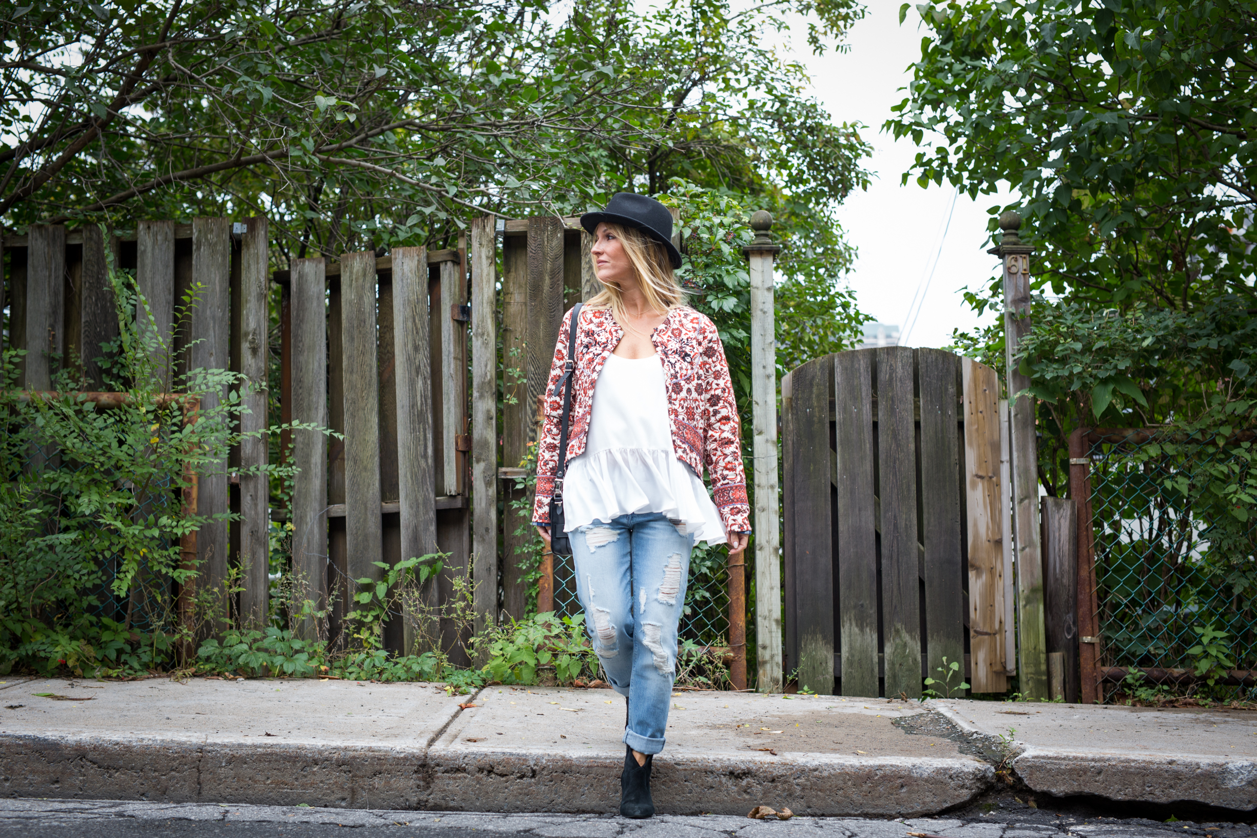 mademoiselle jules fashion Canadian blogger wearing a gypsy 05 jacket and black orchid jeans from show and tell fashion