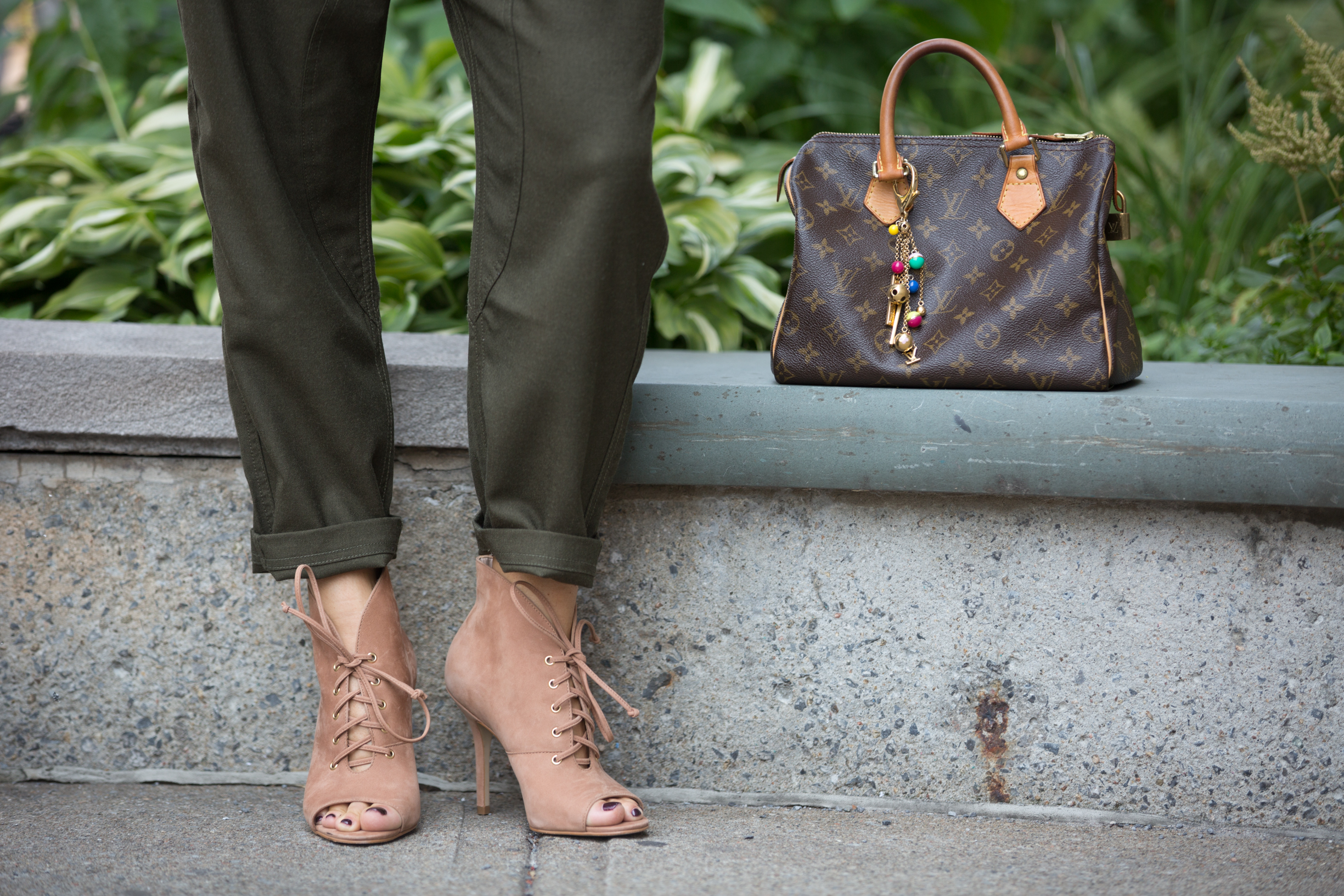 mademoiselle jules wearing also shoes peep toe and LV bag