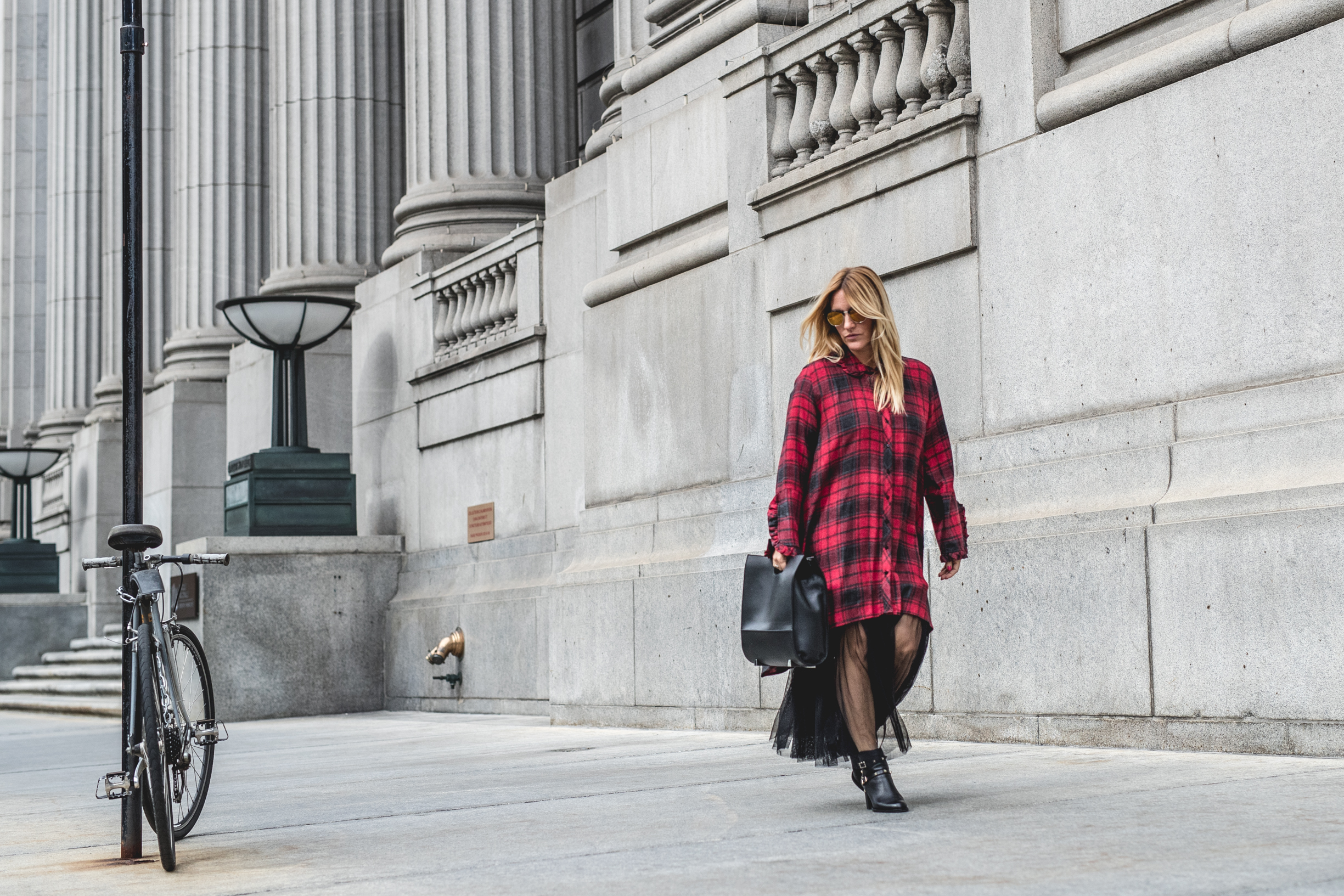 plaid check tunic dress fashion blogger mademoiselle jules mlle fall trends tule skirt valentino boots studs alexander wang bag