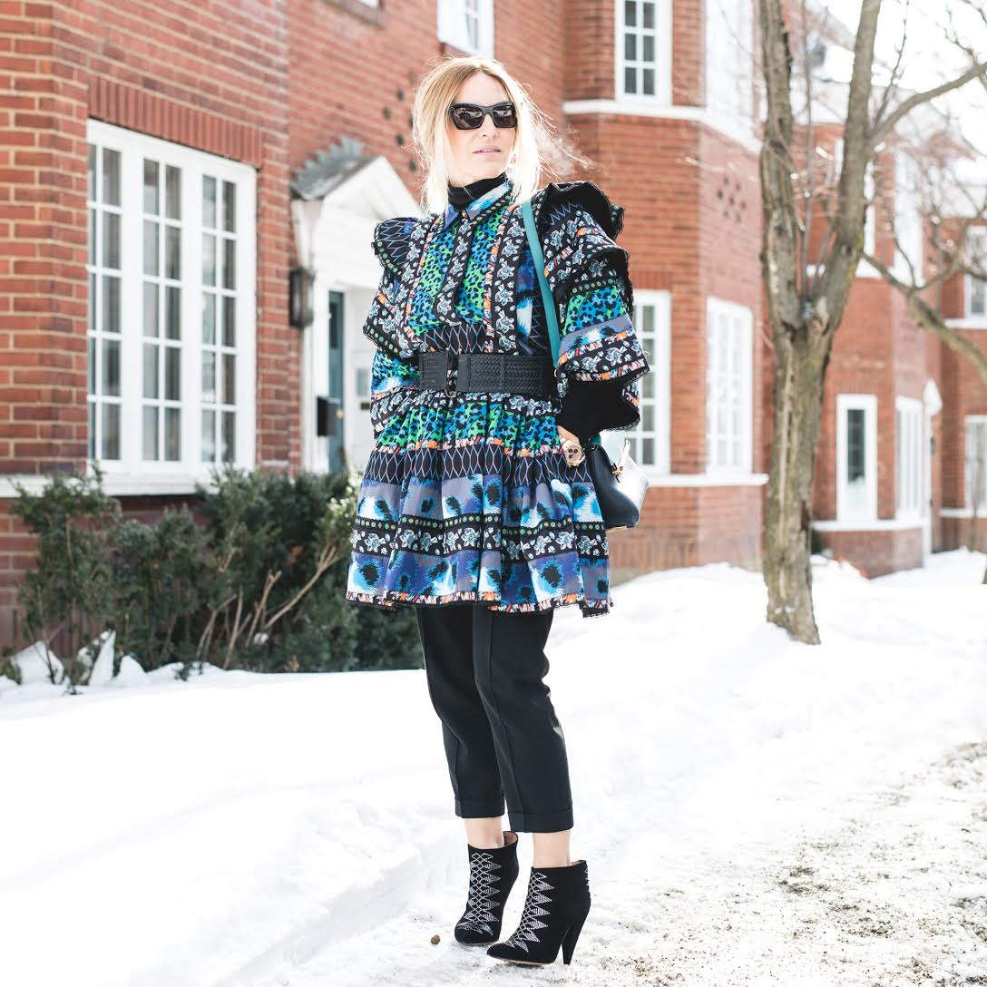 Look #1: Dress: Kenzo x H&M, Pants: Zara, Boots: Iro Paris, Bag: Chloé, Sunglasses: Céline -  Photography by  Patricia Brochu
