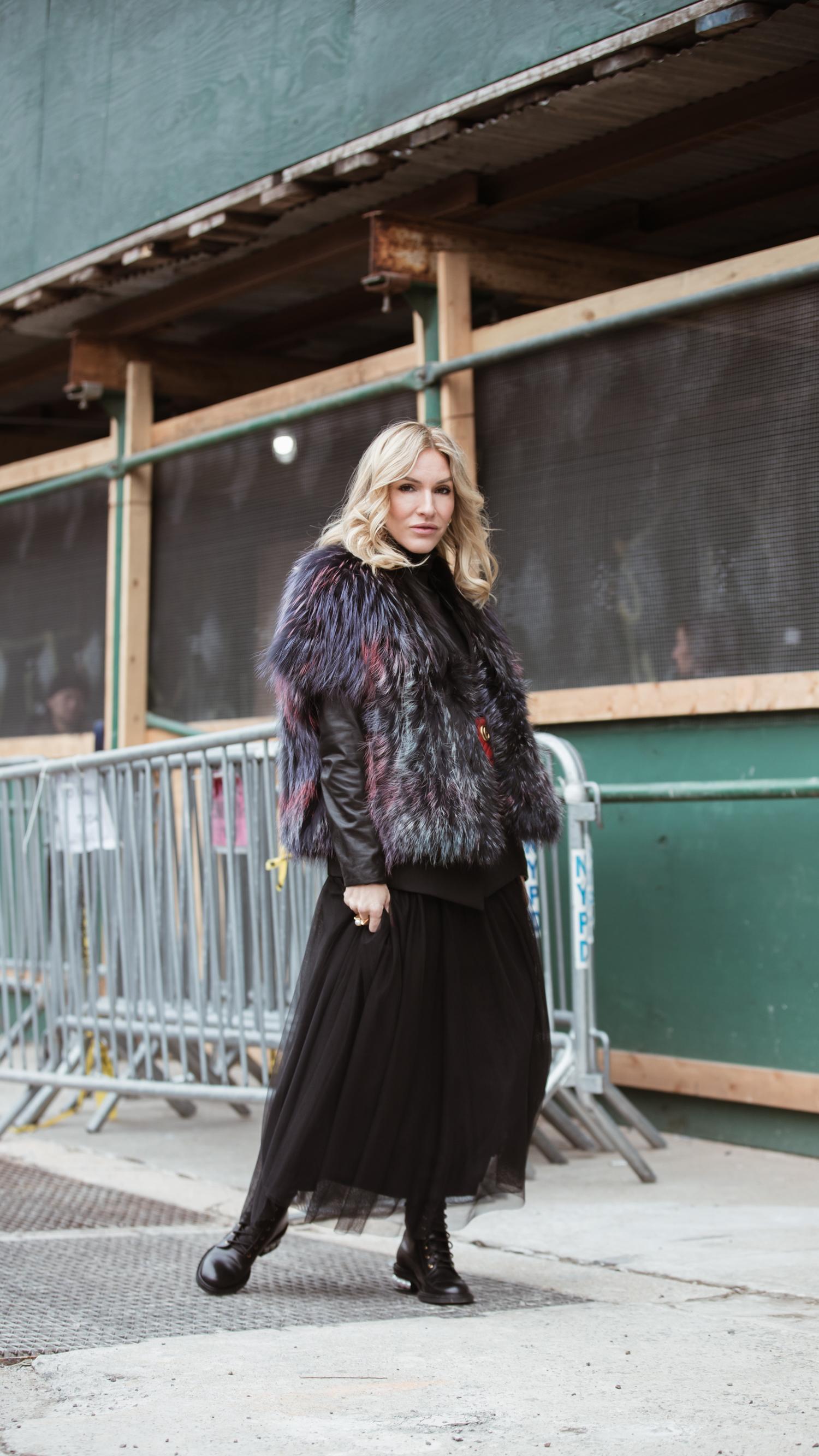 fur:  Lysa Lash Fur  - boots:  Nicholas Kirkwood  - skirt:  Bailey 44  - blazer:  Helmut Lang  - purse:  Gucci Belt Bag
