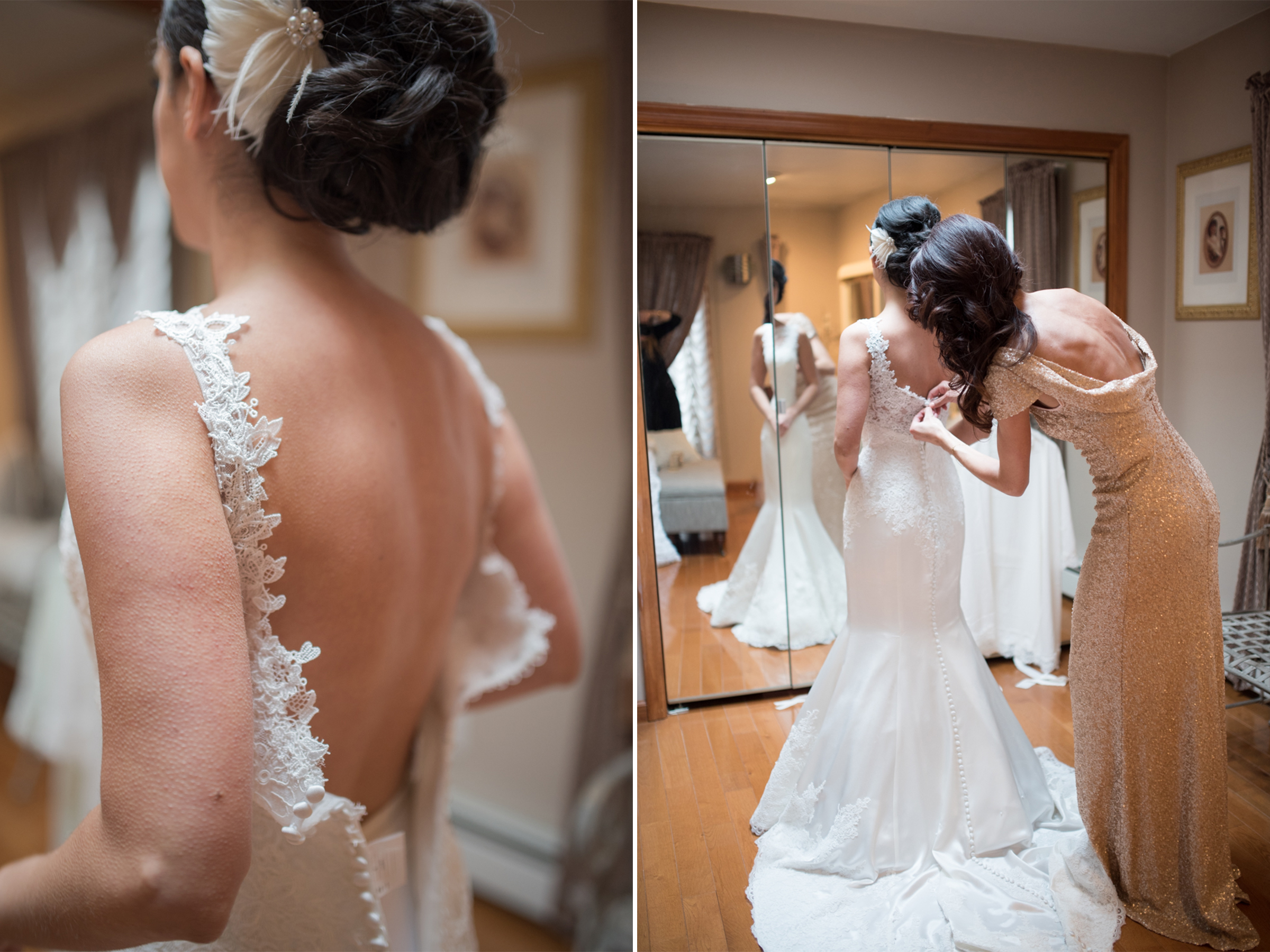 Michelle+Joe- Bride Getting Dressed Lace Mermaid Gown - Ryland Inn Winter Wedding - New Jersey - Olivia Christina Photo.jpg