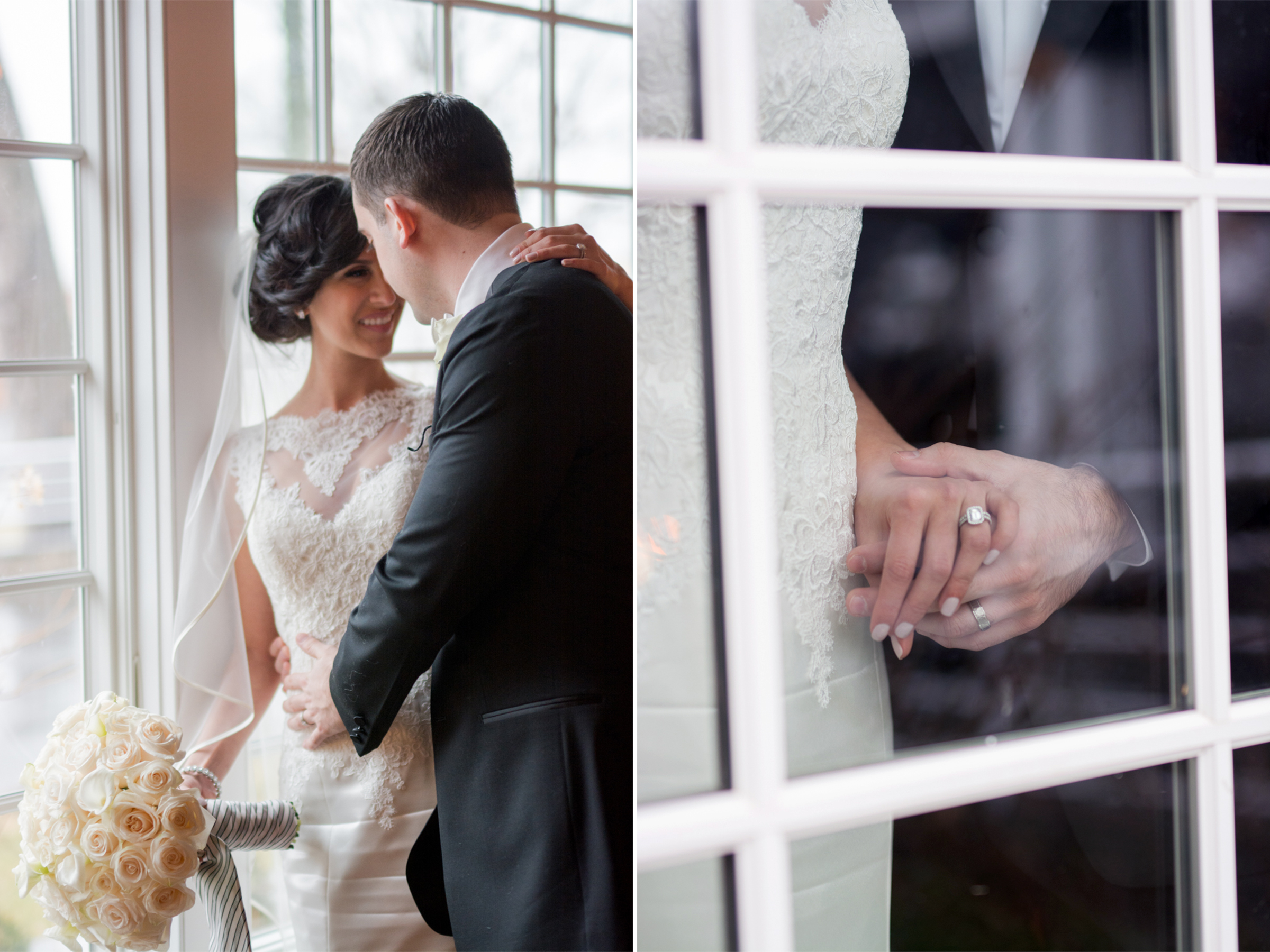 Michelle+Joe- Bride and Groom Window Portrait and Wedding Rings - Ryland Inn Winter Wedding - New Jersey - Olivia Christina Photo.jpg