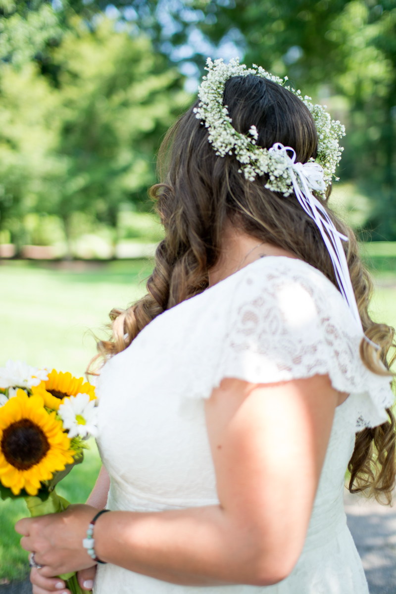 One way to make your DIY hairstyle stand out? Leave it loose and dress it up with a flower crown! I loved the sweet summery vibe Nicole's baby's breath crown gave her hairstyle.