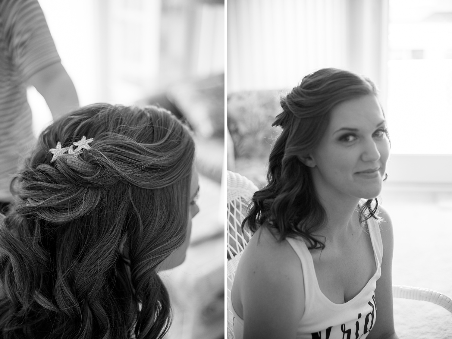 You really can't go wrong with curls and braids! Say I Do Hair and Makeup gave Carolyn a loose braid and curls for her summer wedding that fell beautifully through out the evening. Starfish pins that showed the bride's love for the sea gave the hair style an extra something special.   Hair by:  Say I Do Hair and Makeup