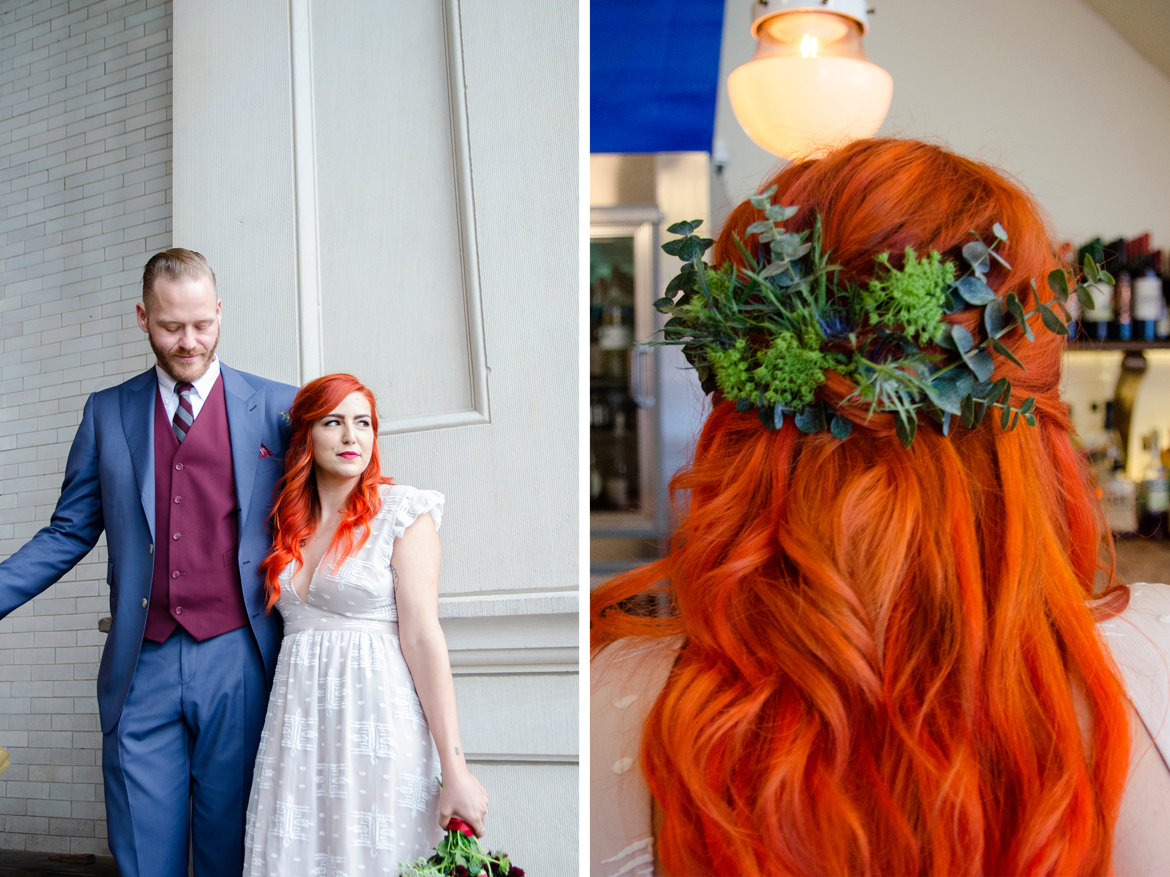 Hair stylist Kristina Maccaro pulled Kate's firey red hair back into a soft half up half down style and used extra leaves from Kate's DIY bridal bouquet to add an earthy and nature inspired pop of fun.   Hair by:  Kristina Maccaro