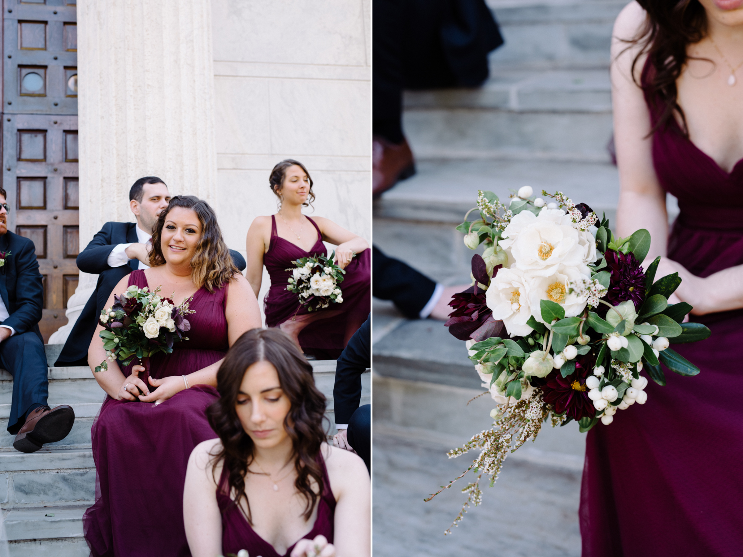 Chelsea+James- Bridal Party Bouquets Maroon- Dark Fall Wedding Colors- Viburnum Designs- Princeton Wedding- Olivia Christina Photo.jpg