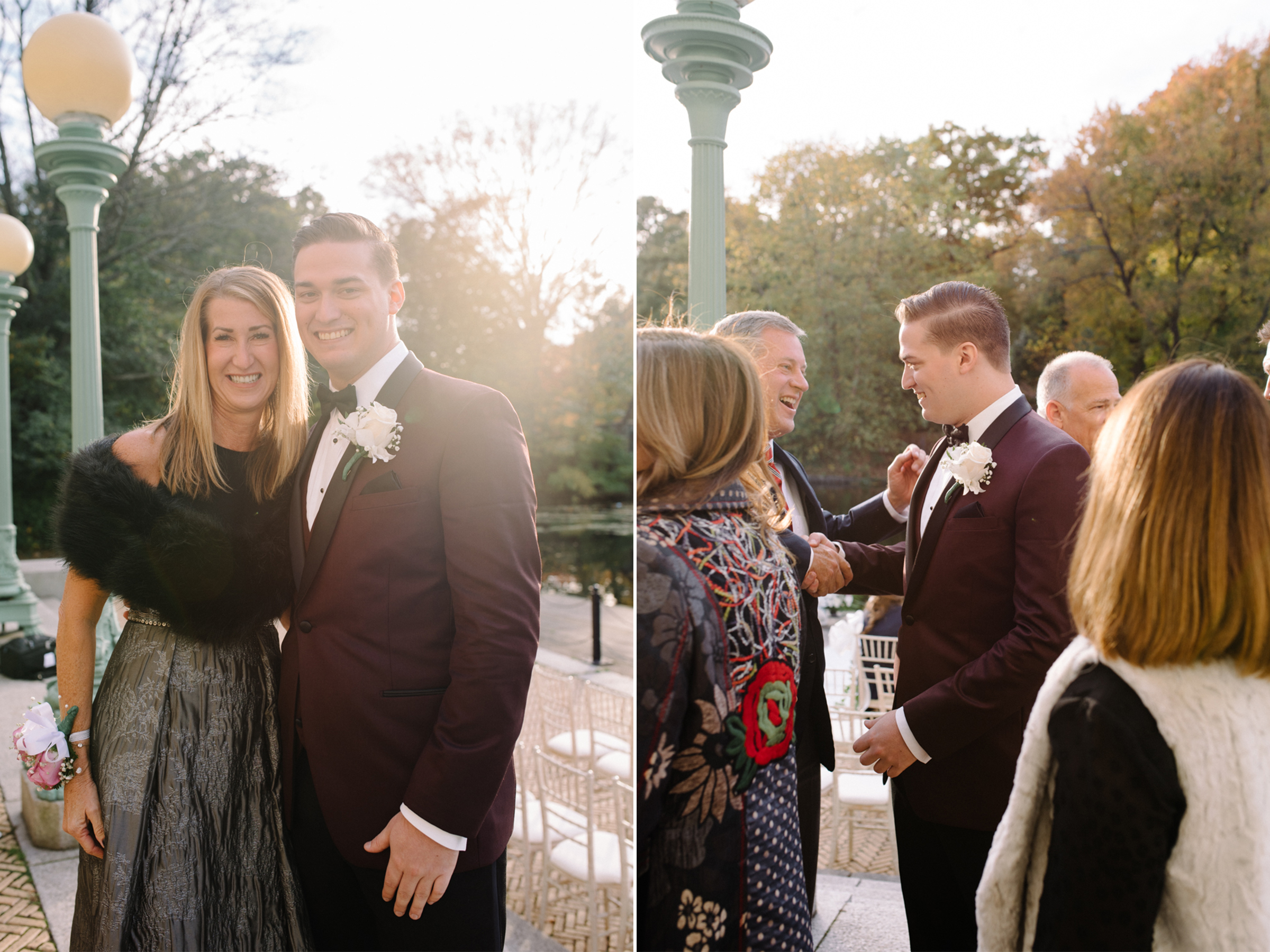 Groom and Mother- Maroon Tux- Prospect Park Boathouse Wedding- Brooklyn New York- Olivia Christina Photo.jpg