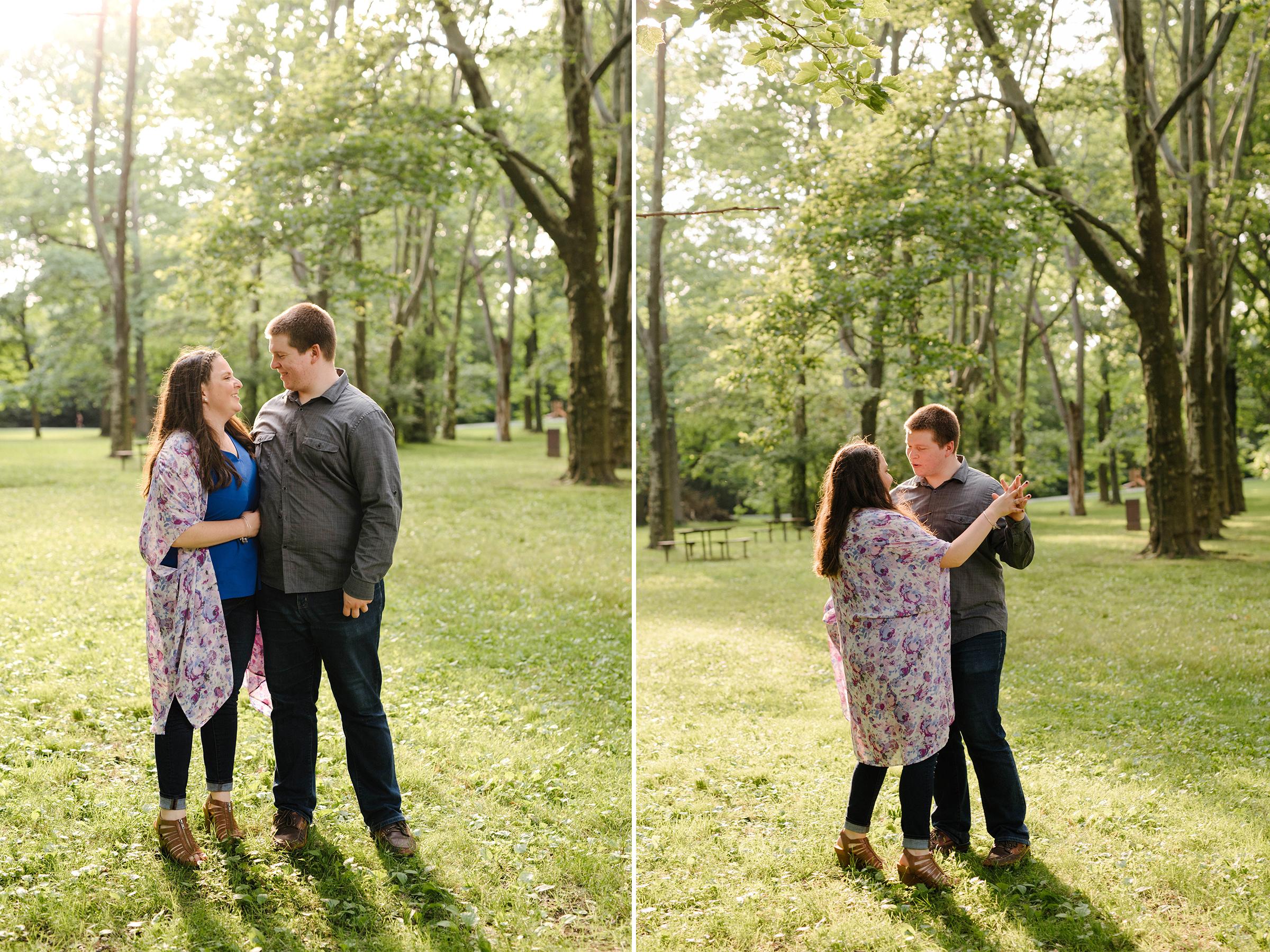 Brookdale Rose Garden- Engagement Photos- Dancing in Golden Hour Backlighting- Bloomfield New Jersey- Olivia Christina Photo.jpg