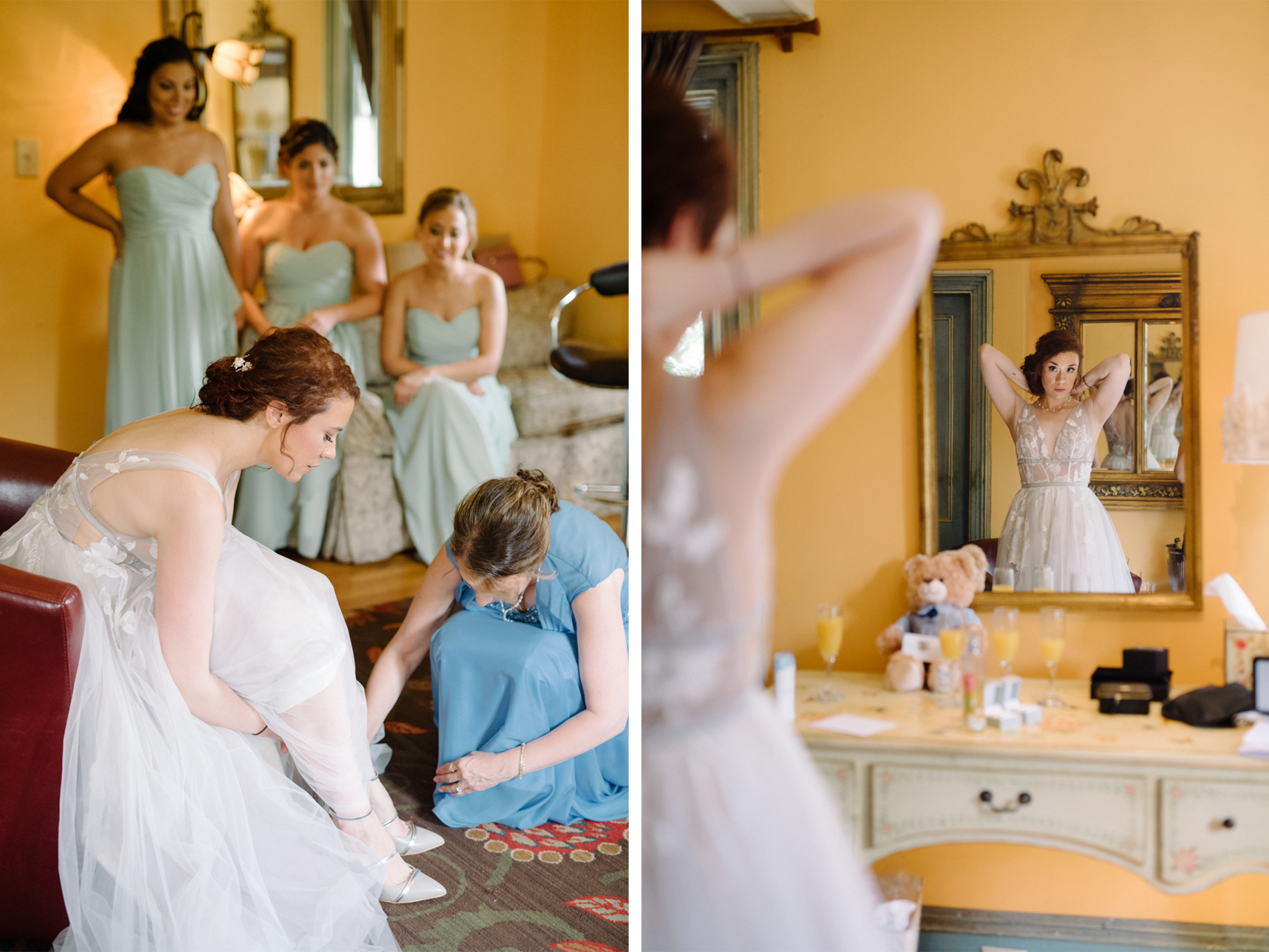 Feast at Round Hill Wedding-Kenny + Melissa- Bride Getting Ready with Mom and Bridesmaids- Mirror Shot-BHLDN Wedding Dress-Hudson Valley New York - Olivia Christina Photo-1.jpg