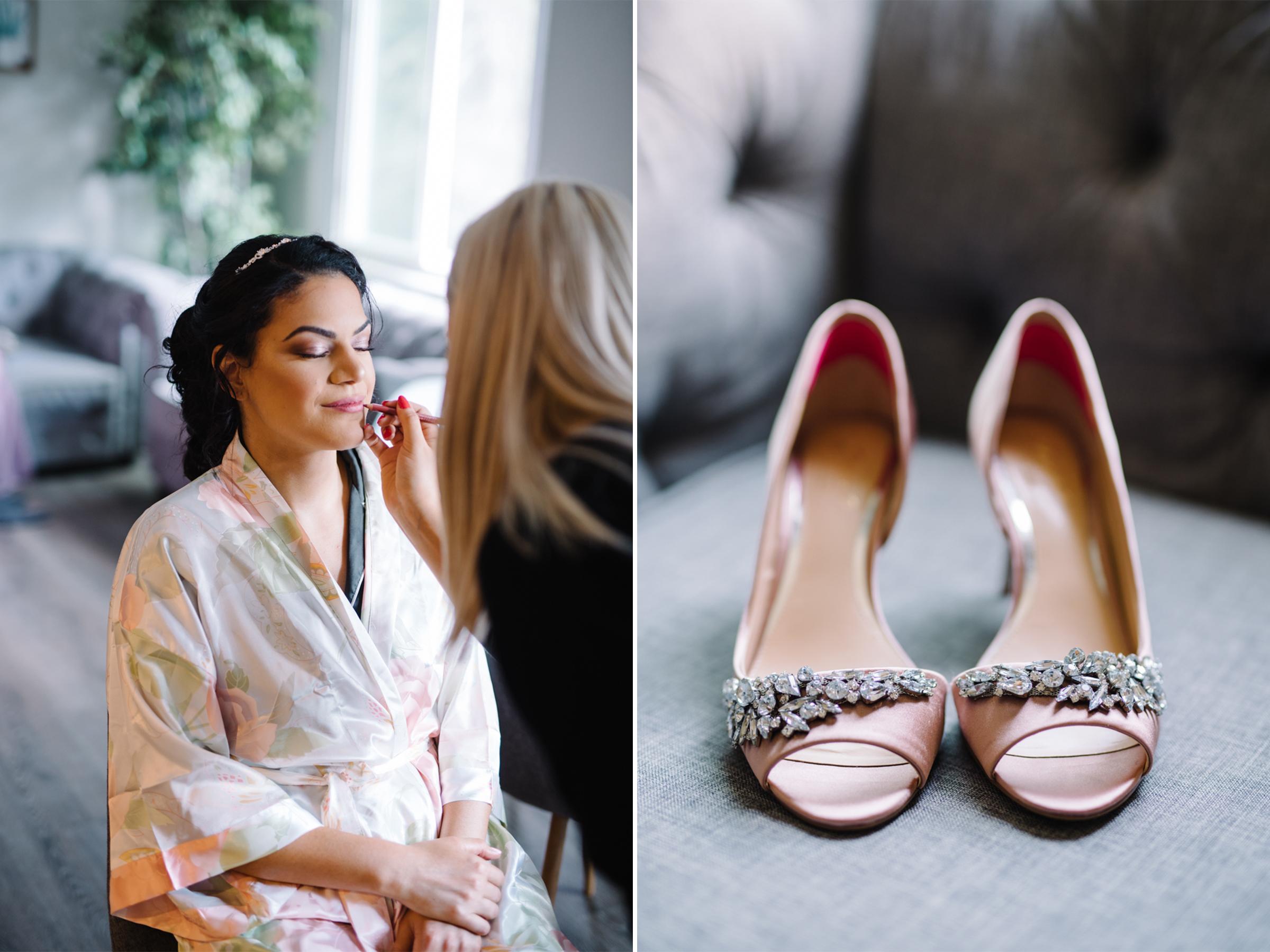 Badgley Mischka Pink Wedding Shoes- Cassidy Secrets Makeup- Bride Getting Ready- Mari and Dalton- Olivia Christina Photo.jpg