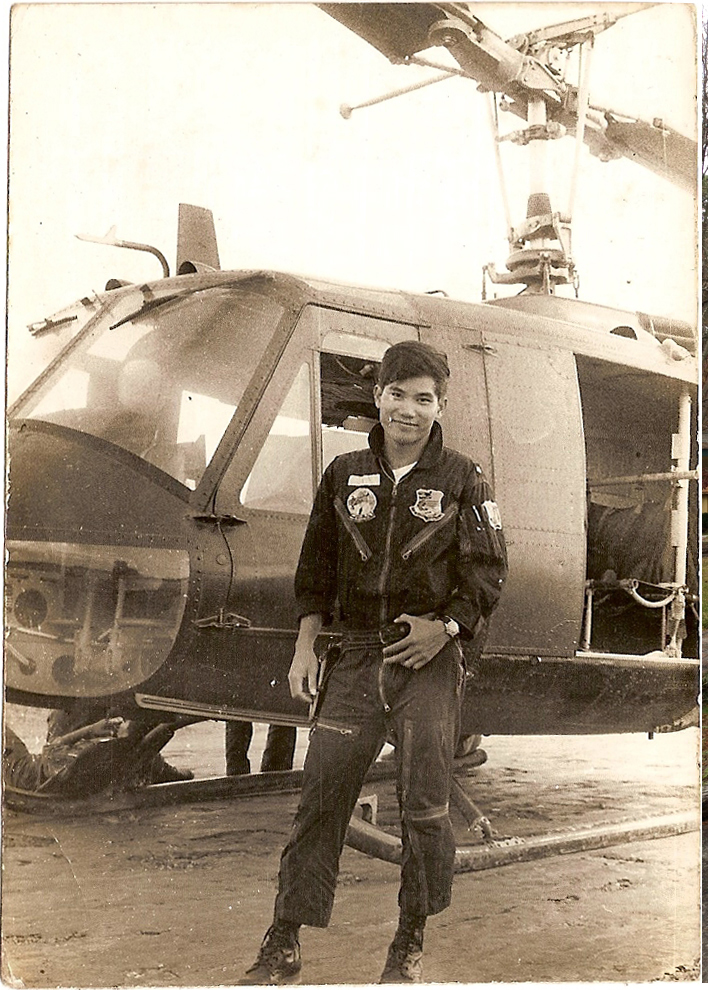 My father with his Huey helicopter