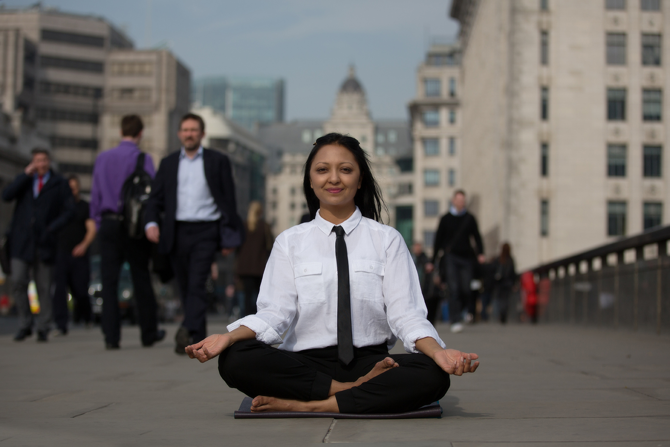Calm amongst the craziness: Meditation pose