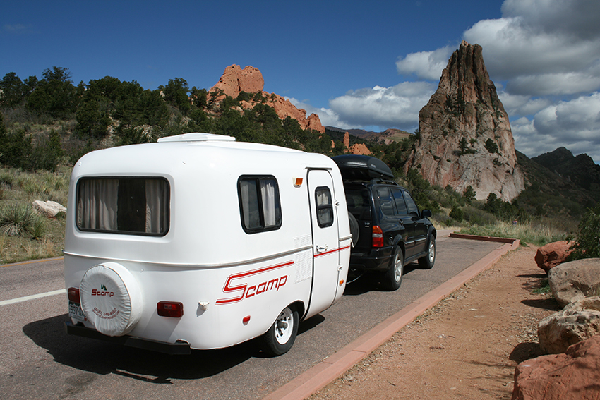 touring the Garden of the Gods near Manitou Springs, CO with OUR 13' SCAMP in tow