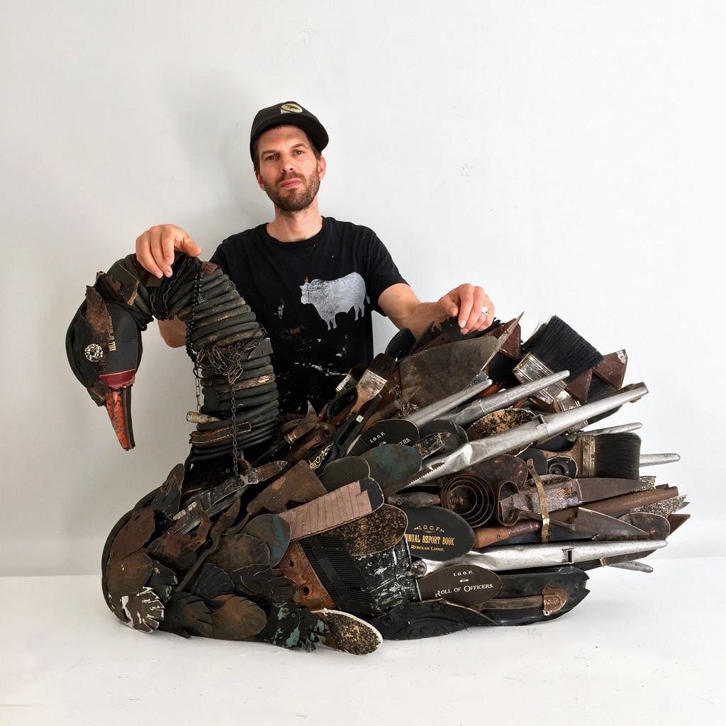 "Dolan Geiman with ""Black Swan Mixed Media Sculpture"""