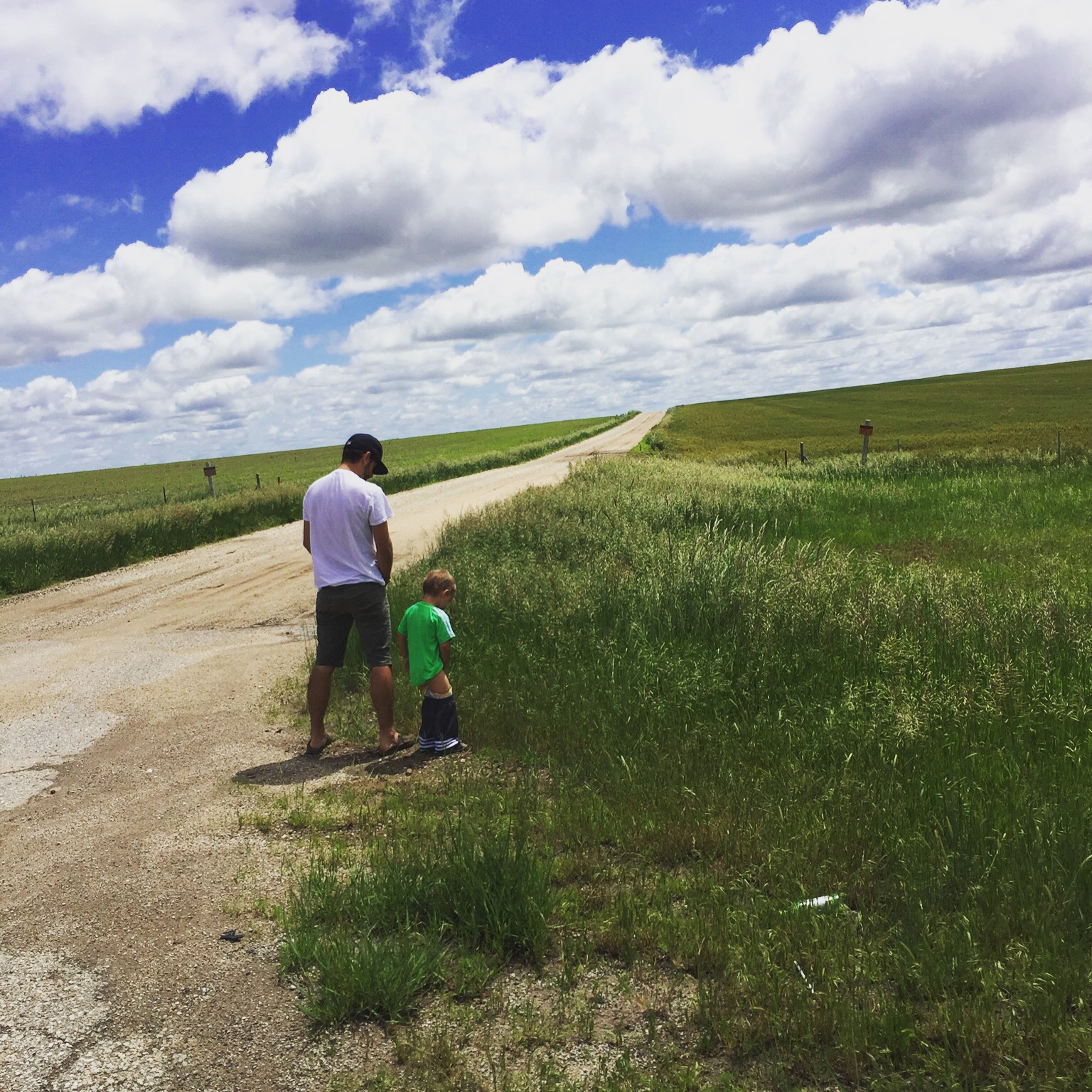 Ivan's first roadside potty   Middle of Nowhere, KS