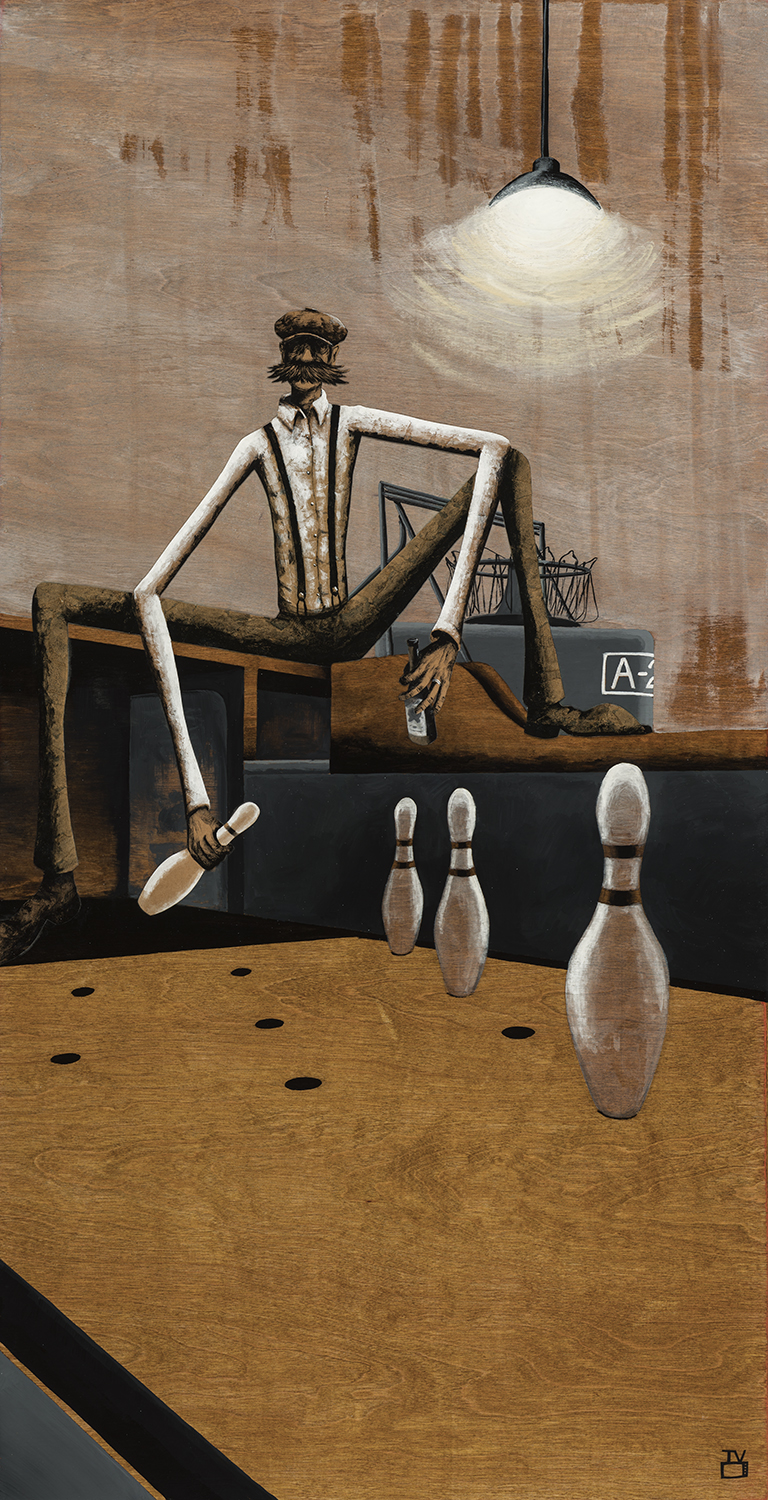 The Pinsetter IV |  24x48 inches acrylic, watercolor paper, kraft paper, graphite on stained birch panel  S HOP