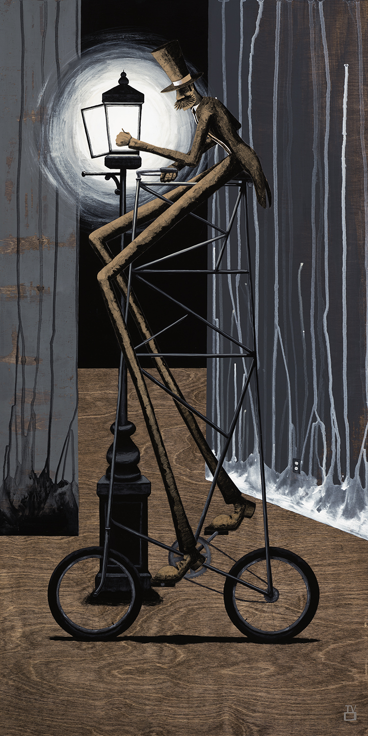 The Lamplighter VI 24x48 inches acrylic, kraft paper, watercolor paper on stained birch