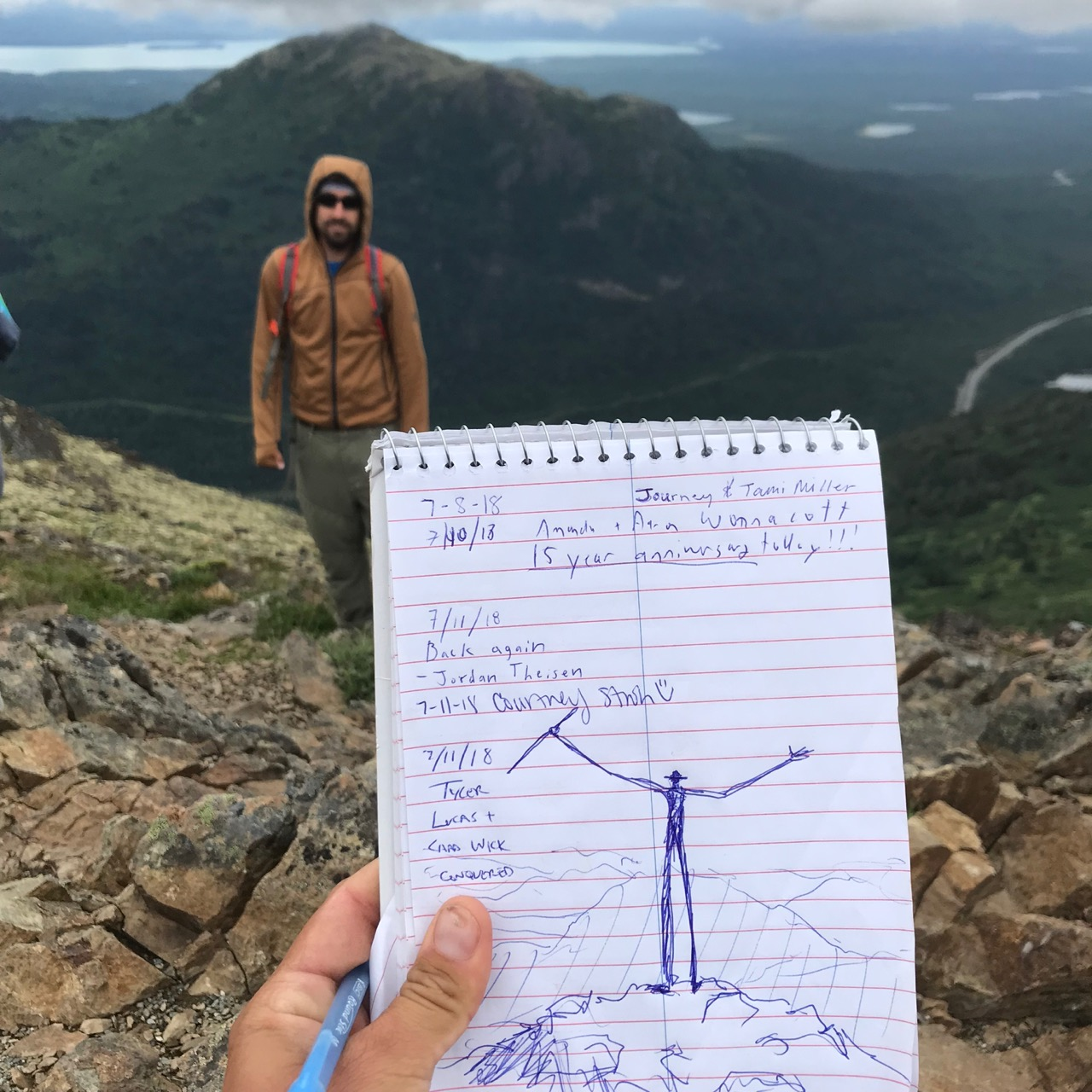 My signature in the notebook at the summit, a sketch capturing how I felt about the morning's hike.