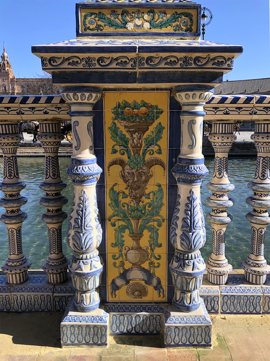 Ornate, vibrant tile work covers this entire plaza