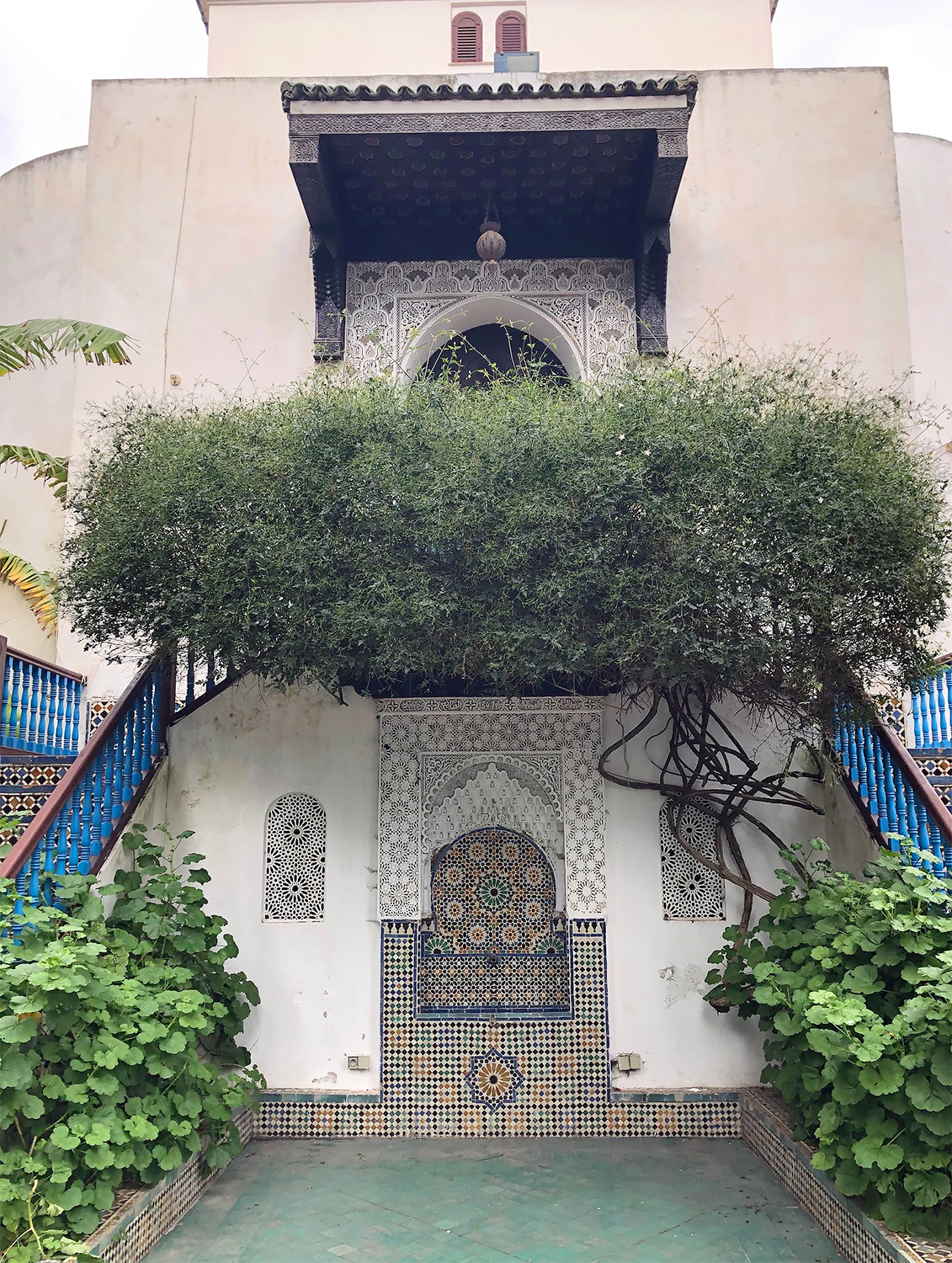 A beautiful tiled fountain in the courtyard of the Royal Artisan School in Tetouan, Morocco