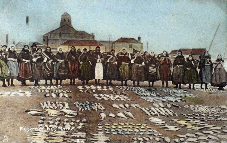 Fisherrow Fishwives at Musselburgh Fish Market, Scotland