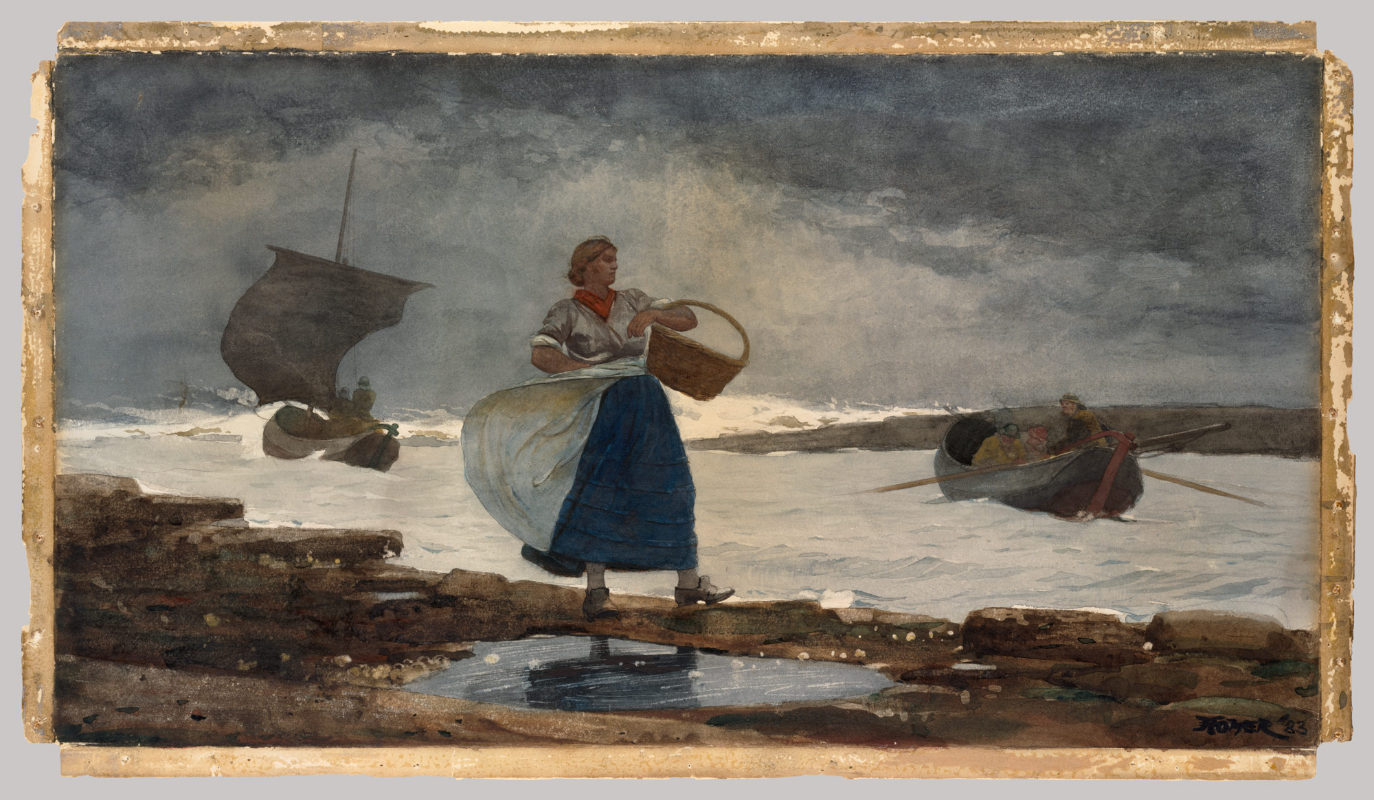 Inside the Bar by Winslow Homer, 1883, Watercolor and graphite on off-white wove paper, 16 x 29 in.