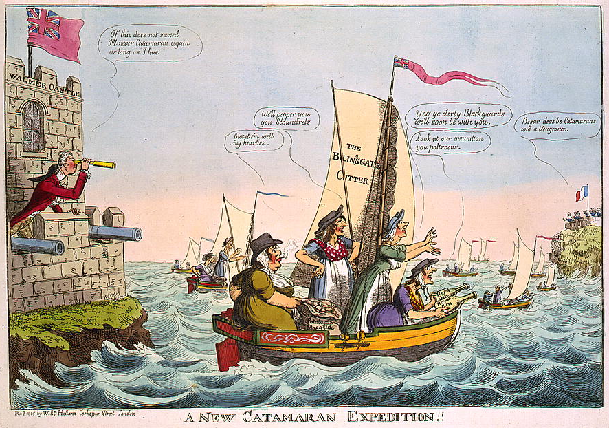 """A New Catamaran Expedition!"" - Political Cartoon by Isaac Cruikshank"
