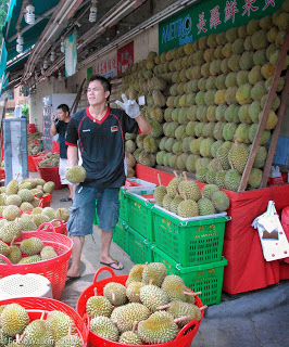 One of Geylang's many fresh durian stalls