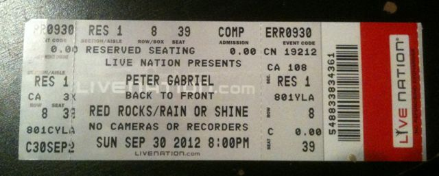 My ticket, which I have kept employed as a bookmark since the concert.