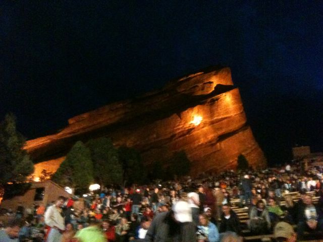 Behind us, the famed Red Rocks loomed large. And hey, the rocks really are red there!