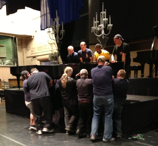 A-Z Moving and Stage Crew lifting a Steinway B | Piano Adventures: The Ten Grands Benefit Photo Essay - Blog - Andante Piano Works