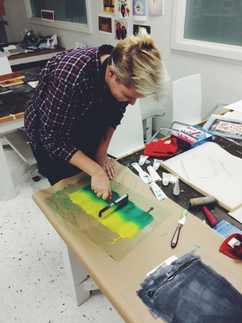 Anne prepping for an ombré print.