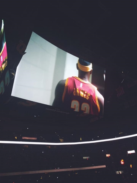 Caleb is a cinematographer and he shot the Cavs Home Opener Video and we got to see it in person!!!