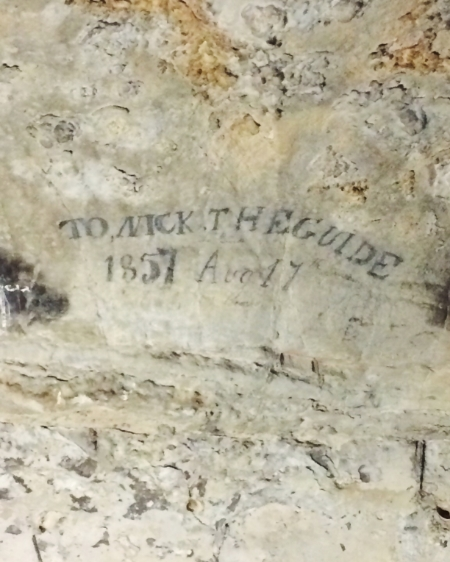 Dedication to an original cave guide.