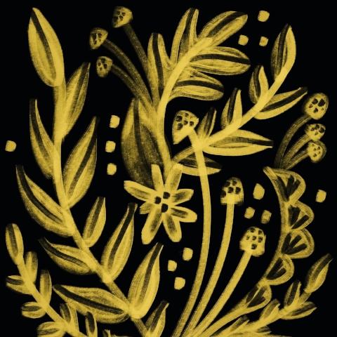 Floral in Black & Gold