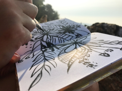 sketching by the lake