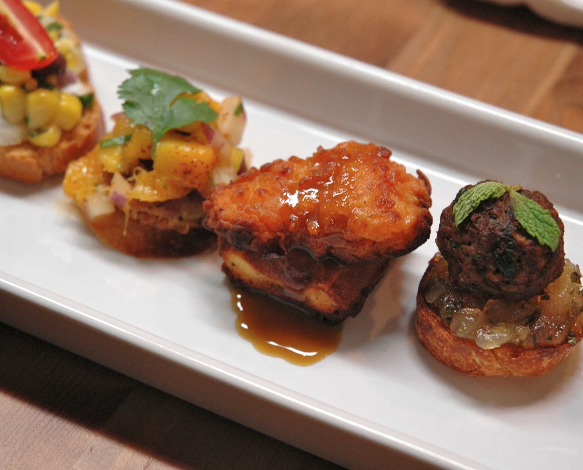 Quinoa Falafel with Mango Radish Salsa, Fried Chicken with Scallion Cheddar Waffle and Lamb Meatball with Apple Jalapeno Jam