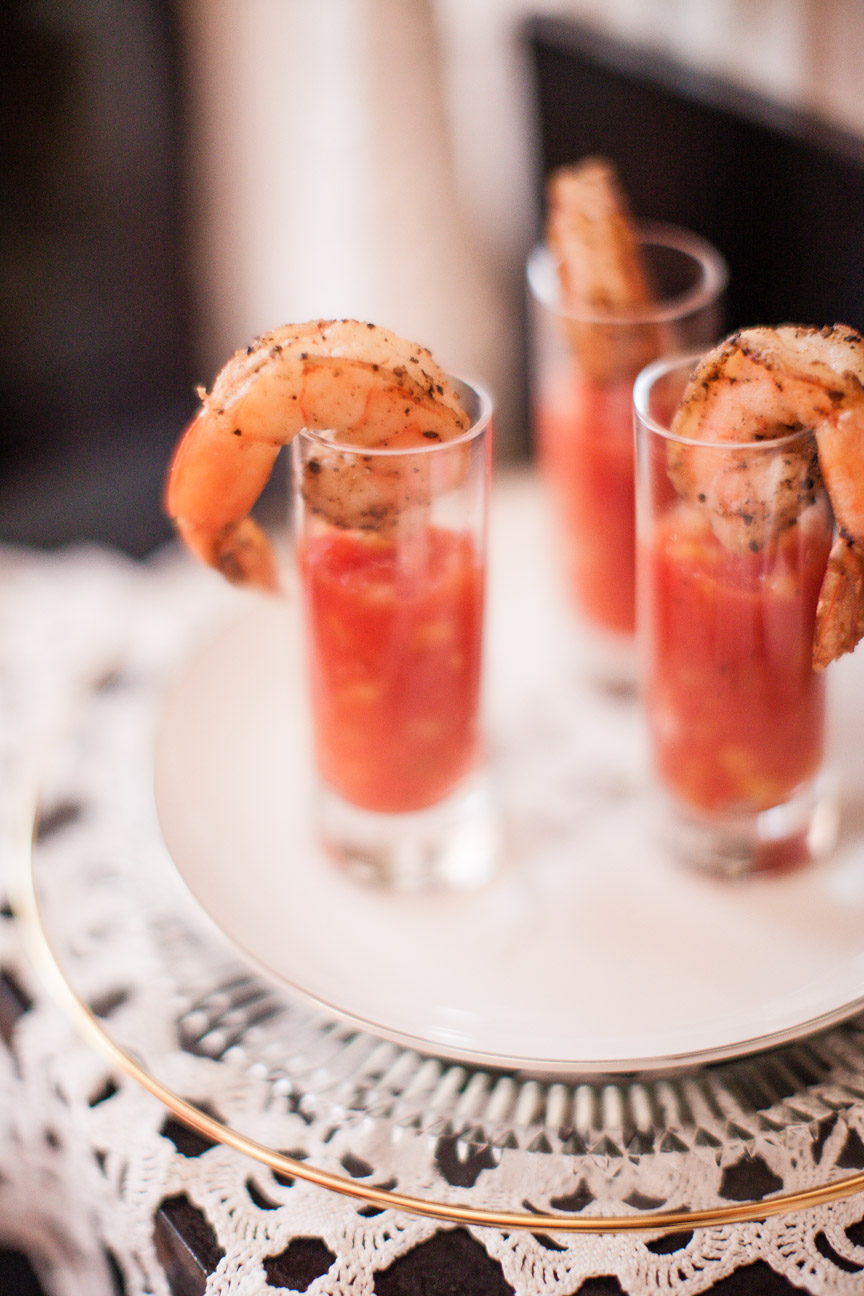 Salt & Pepper Shrimp with Vodka Infused Gazpacho