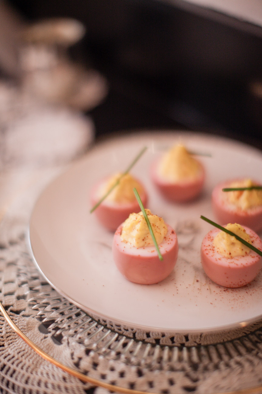 Beet Poached Deviled Eggs