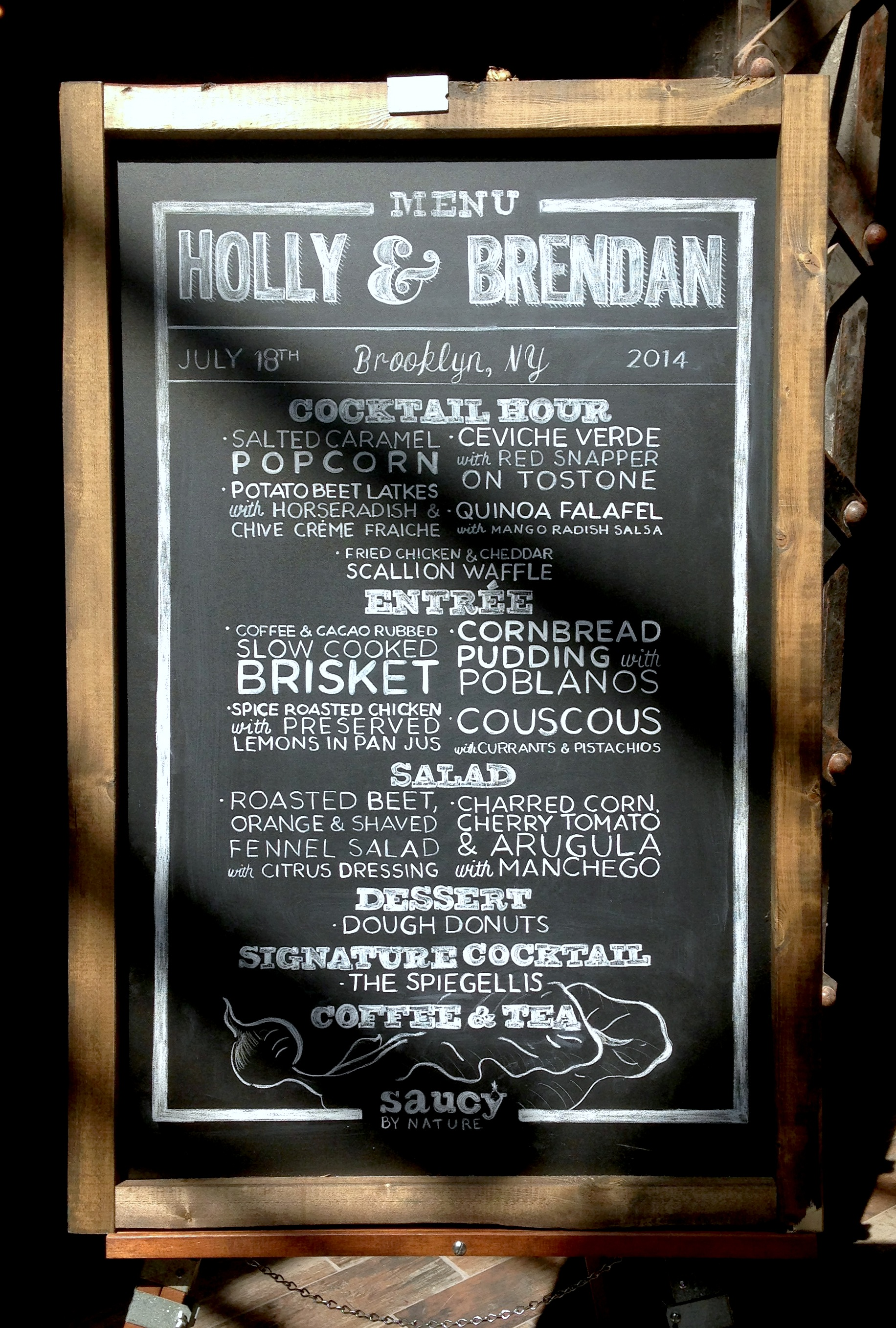 Custom made calligraphy menu as part of Saucy Styling