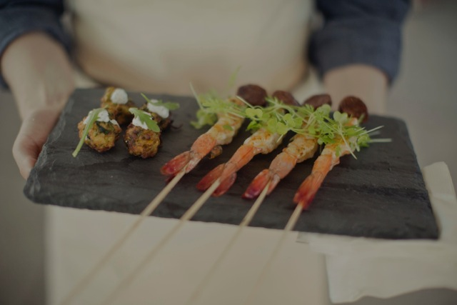 Grilled Shrimp with Peach Sriracha Jam and Zucchini Fritters with Mint Yogurt